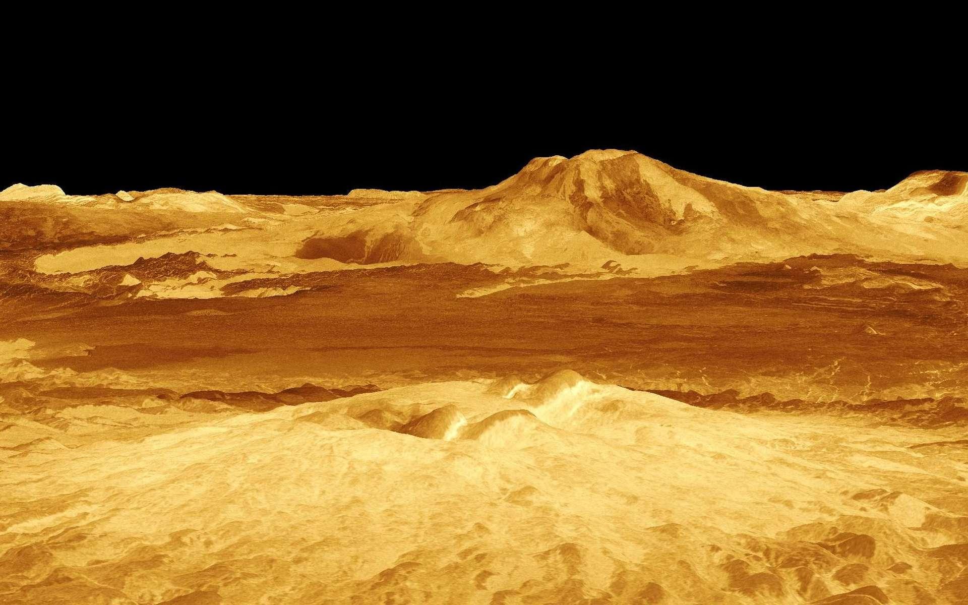 Cette image a été obtenue à partir des données radar de la sonde Magellan qui a observé et cartographieé la surface de Vénus durant 4 ans (d'août 1990 à octobre 1994). Les observations de Magellan ont permis d'établir que la surface de Vénus est globalement jeune, avec un âge moyen de quelques centaines de millions d'années tout au plus. En effet, on n'y observe que peu de cratères d'impact. On constate aussi que la surface est caractérisée par un volcanisme important, puisque toute la surface de Vénus est constituée de volcans, de coulées, de caldeiras et de dômes. Mais, au cours des 4 années qu'ont duré les observations au radar de Magellan, ni panaches de cendres ni modifications notables de la surface de Vénus n'ont été détectés. Il y avait donc un débat sur la réalité d'une activité actuelle ou récente du volcanisme sur Vénus. © Nasa