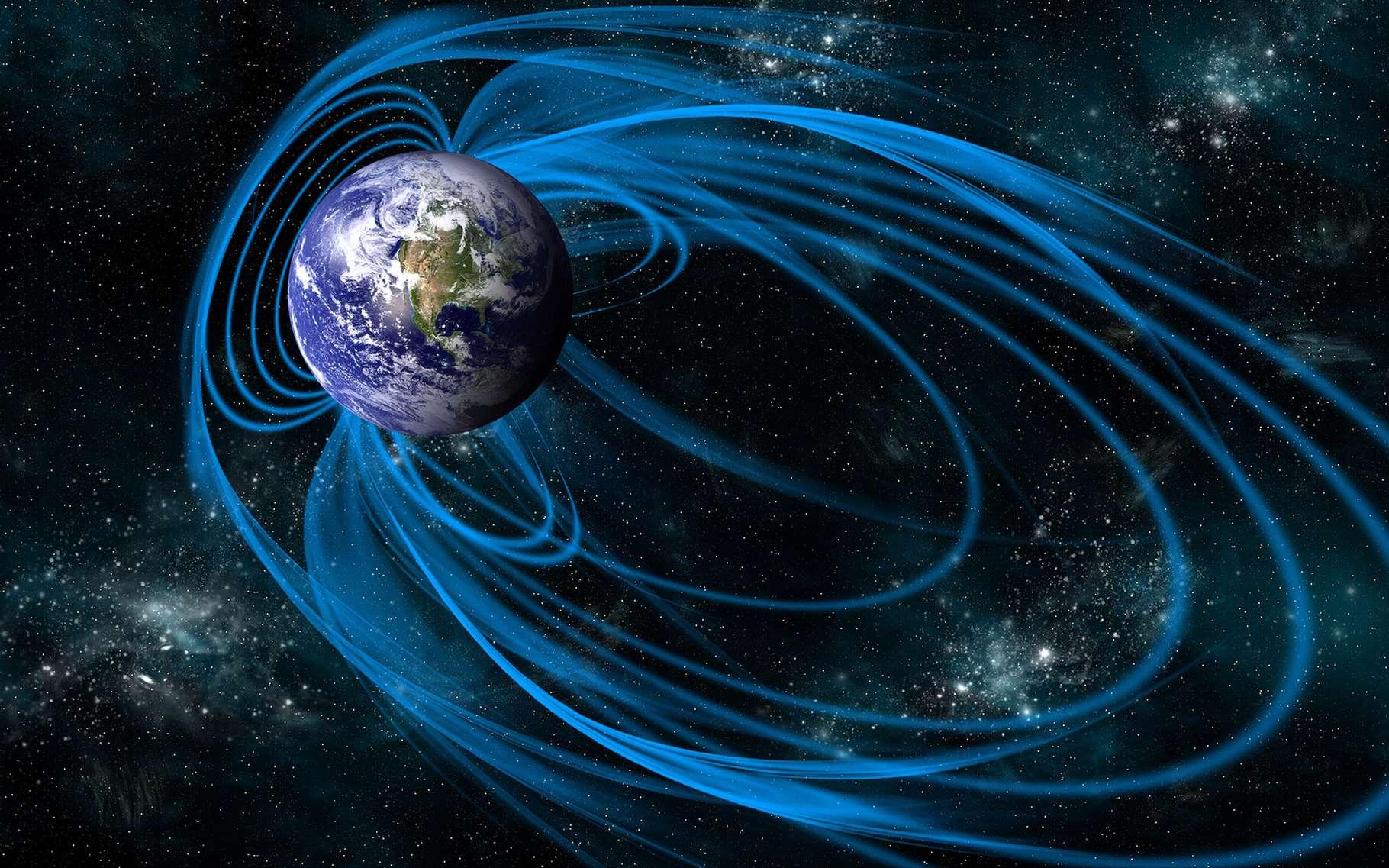 Au Précambrien, notre planète aurait bien pu avoir plus de deux pôles magnétiques. Ici, une représentation du champ magnétique terrestre actuel. © Marc Ward, Shutterstock
