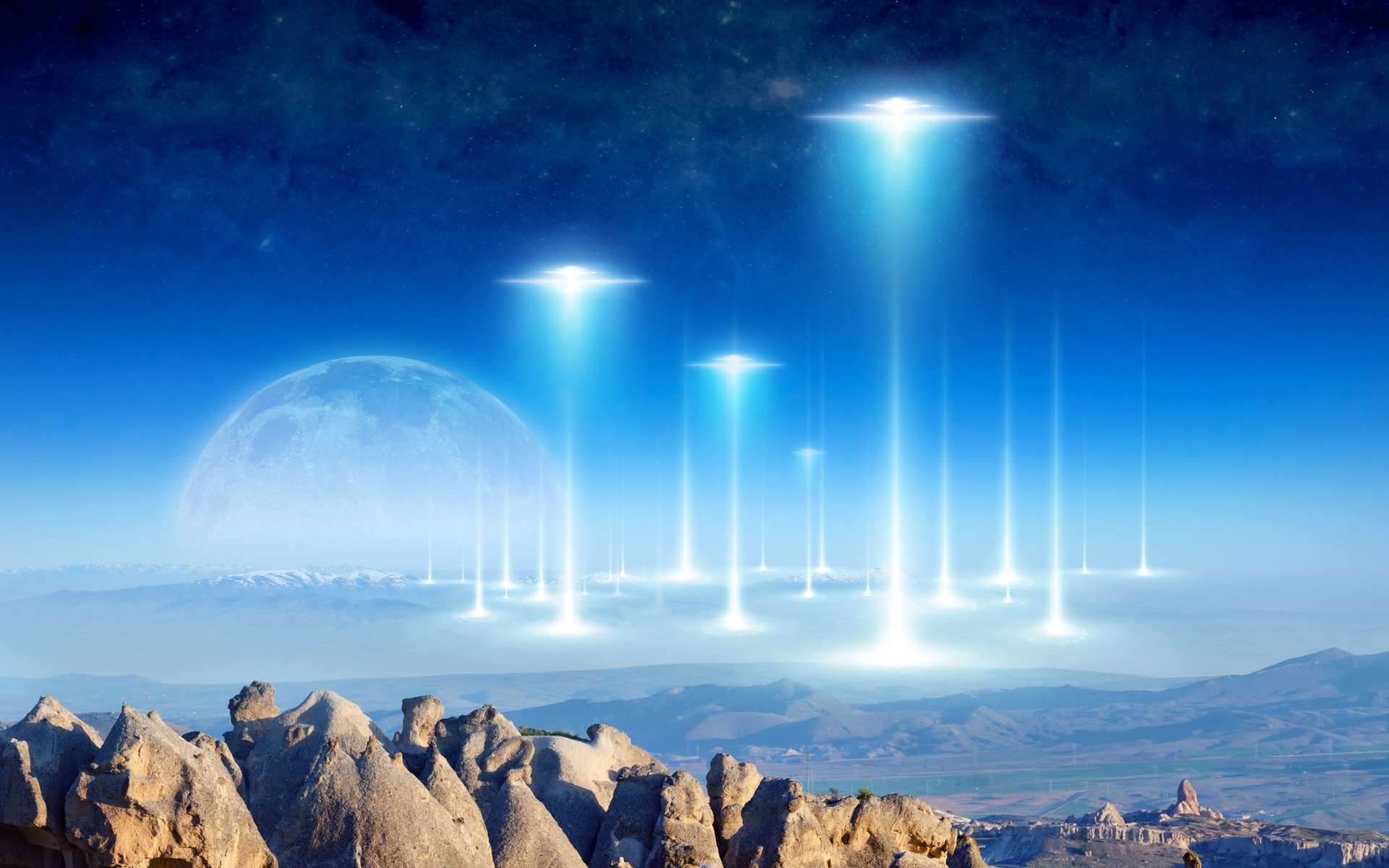 Les Trisolatiens quittent leur monde dans leur immense flotte spatiale et se dirigent vers la Terre. © IgorZh, Adobe Stock