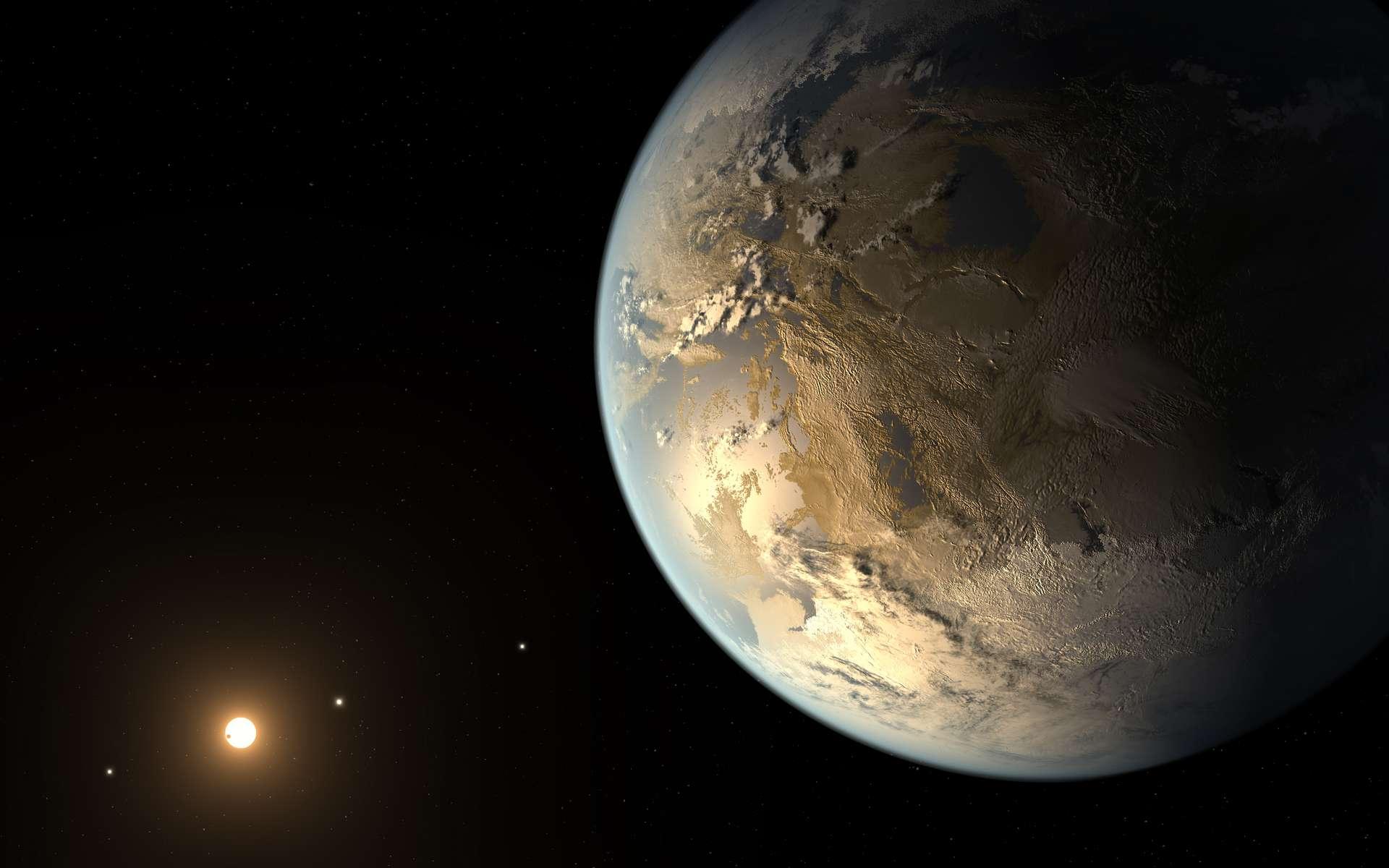 De la taille de la Terre, Kepler-186f gravite dans la zone habitable de son soleil. © Nasa Ames, JPL-Caltech, T. Pyle