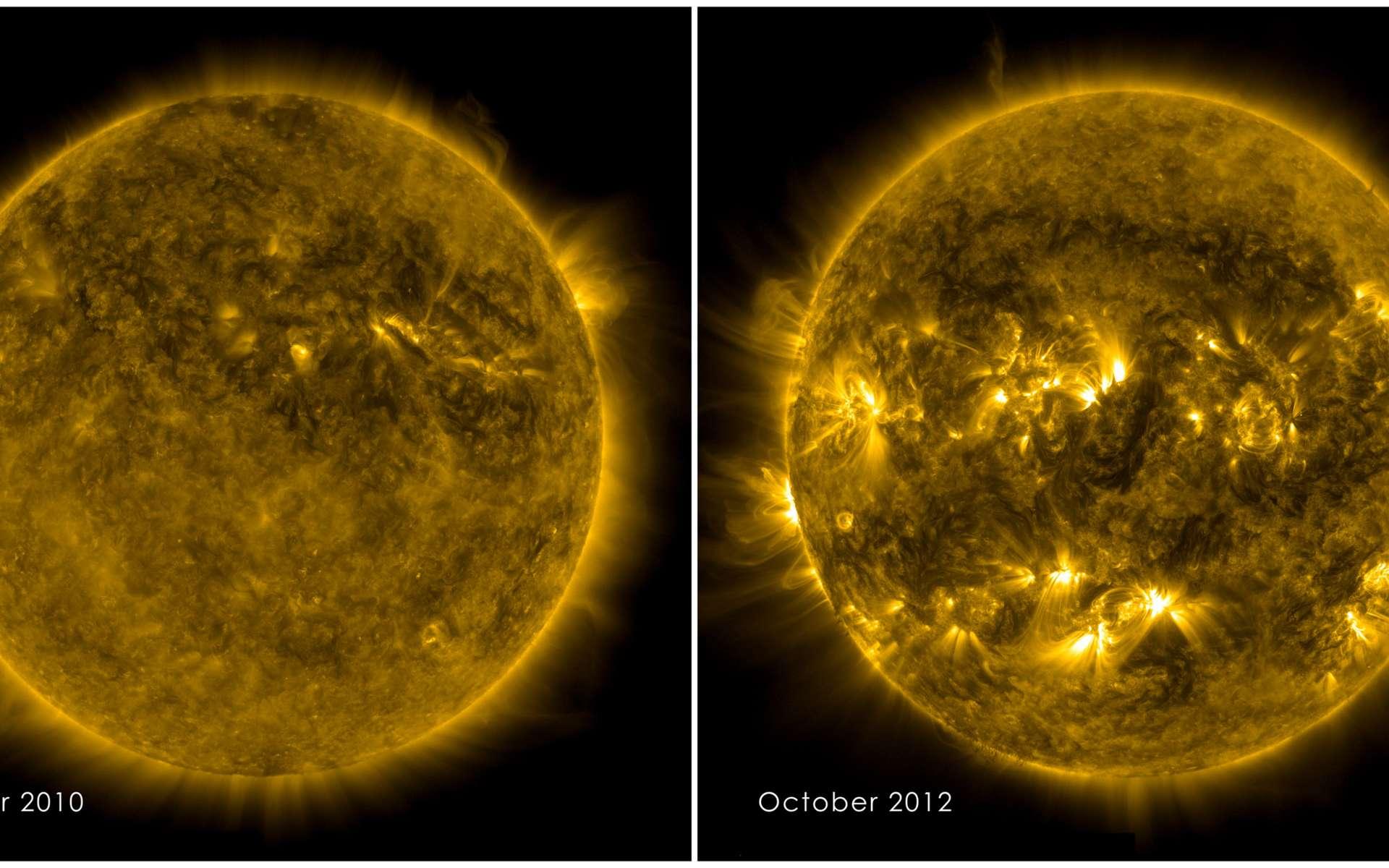 Cette image illustre bien l'activité du Soleil, qui se traduit par une variété de phénomènes qui varient de façon cyclique (11 ans), en fréquence et en intensité. Les taches solaires, bien plus nombreuses sur l'image de droite, en sont l'exemple le plus concret. © Nasa/ SDO Science team