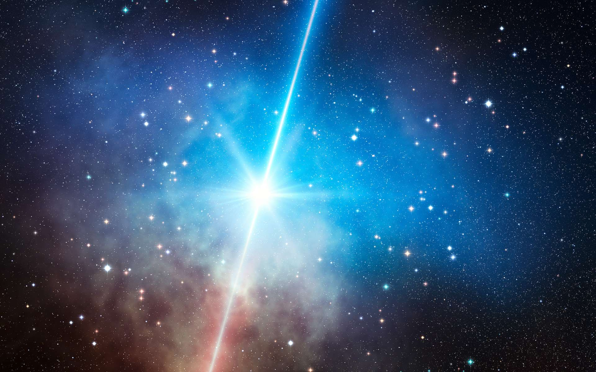 Une vision d'artiste de l'explosion en supernova d'une supergéante bleue massive. En l'occurrence, il s'agit d'une hypernova conduisant à un sursaut gamma et à la formation d'un trou noir. Les explosions des premières étoiles devaient ressembler à celle-ci, bien que pouvant conduire également à la formation d'étoiles à neutrons. Dans ce dernier cas, l'explosion est nettement moins lumineuse et ne s'accompagne pas de deux jets. C'est ce dernier cas qui a été étudié par des chercheurs de l'Institut Kavli. © Eso, L. Calçada