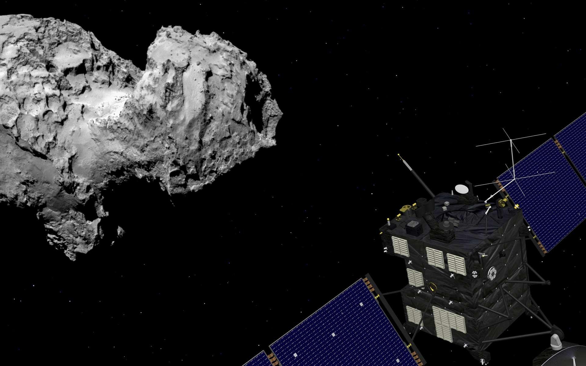 Vue d'artiste de la sonde Rosetta et de la comète Churyumov-Gerasimenko, alias Tchouri. © Rosetta : Esa–J. Huart, 2014 ; Comète : Esa, Rosetta, MPS for Osiris Team