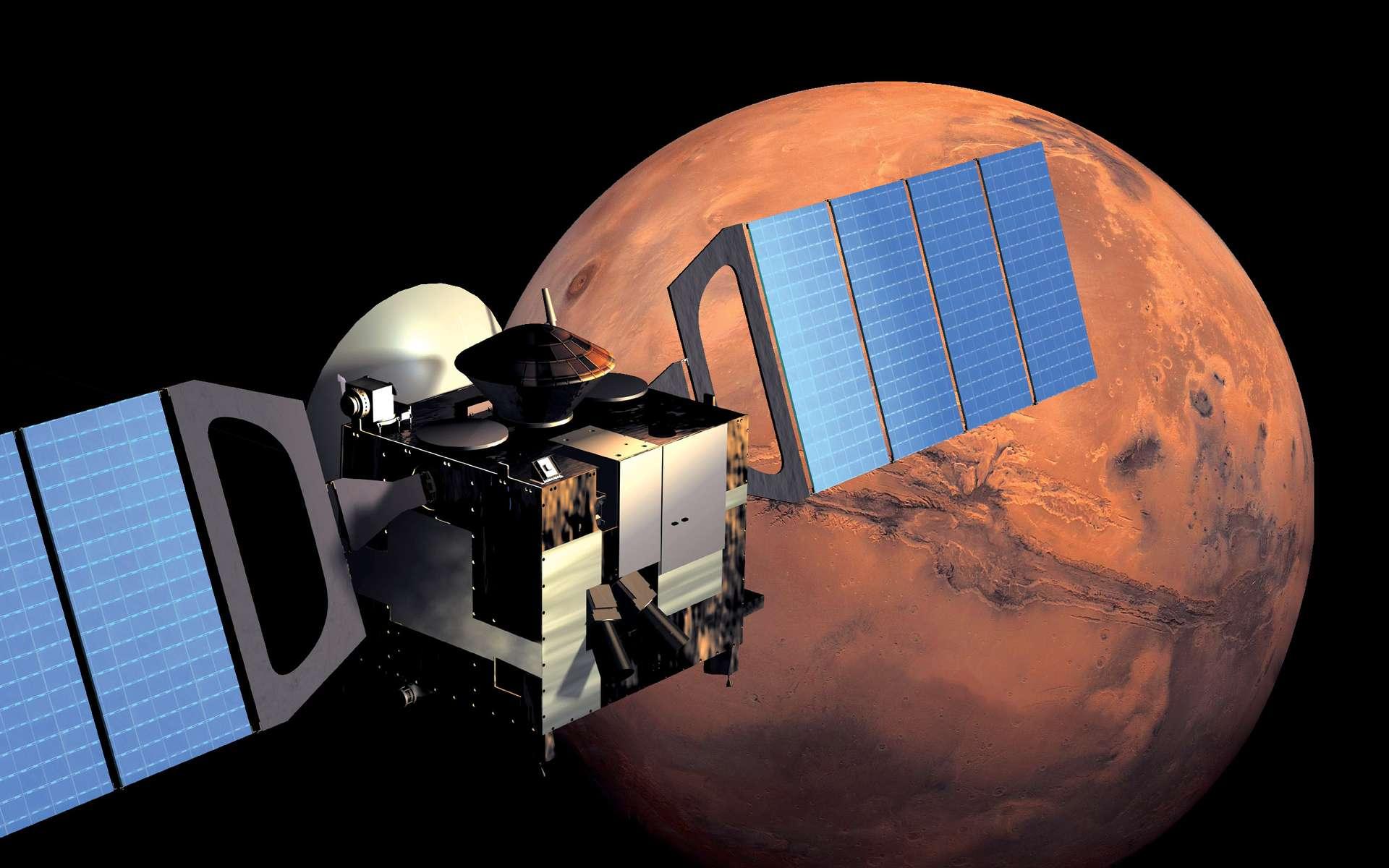 Vue d'artiste de Mars Express en orbite autour de la Planète rouge. © ESA