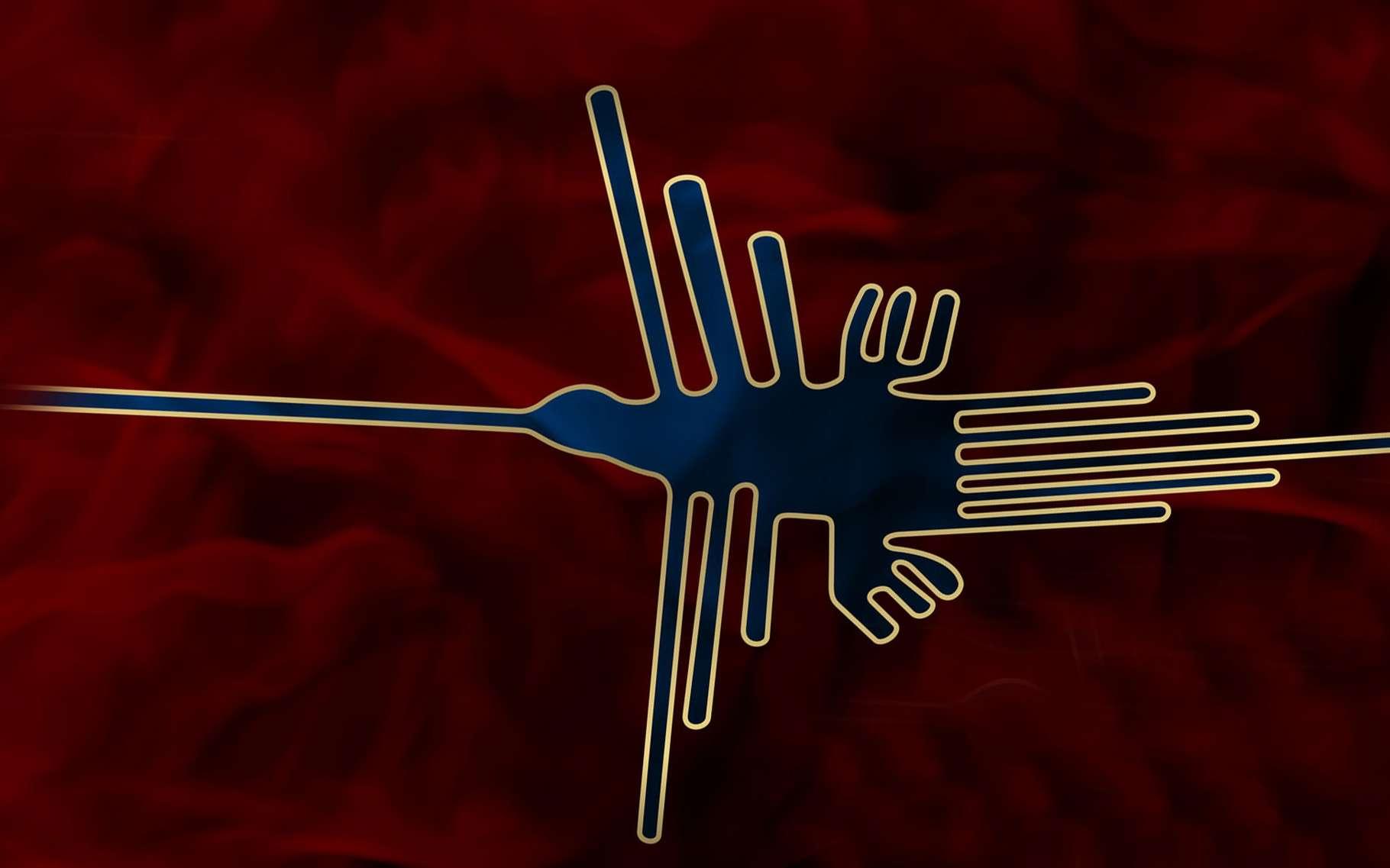 Une représentation du célèbre géoglyphe de Nazca appelé le Colibri.