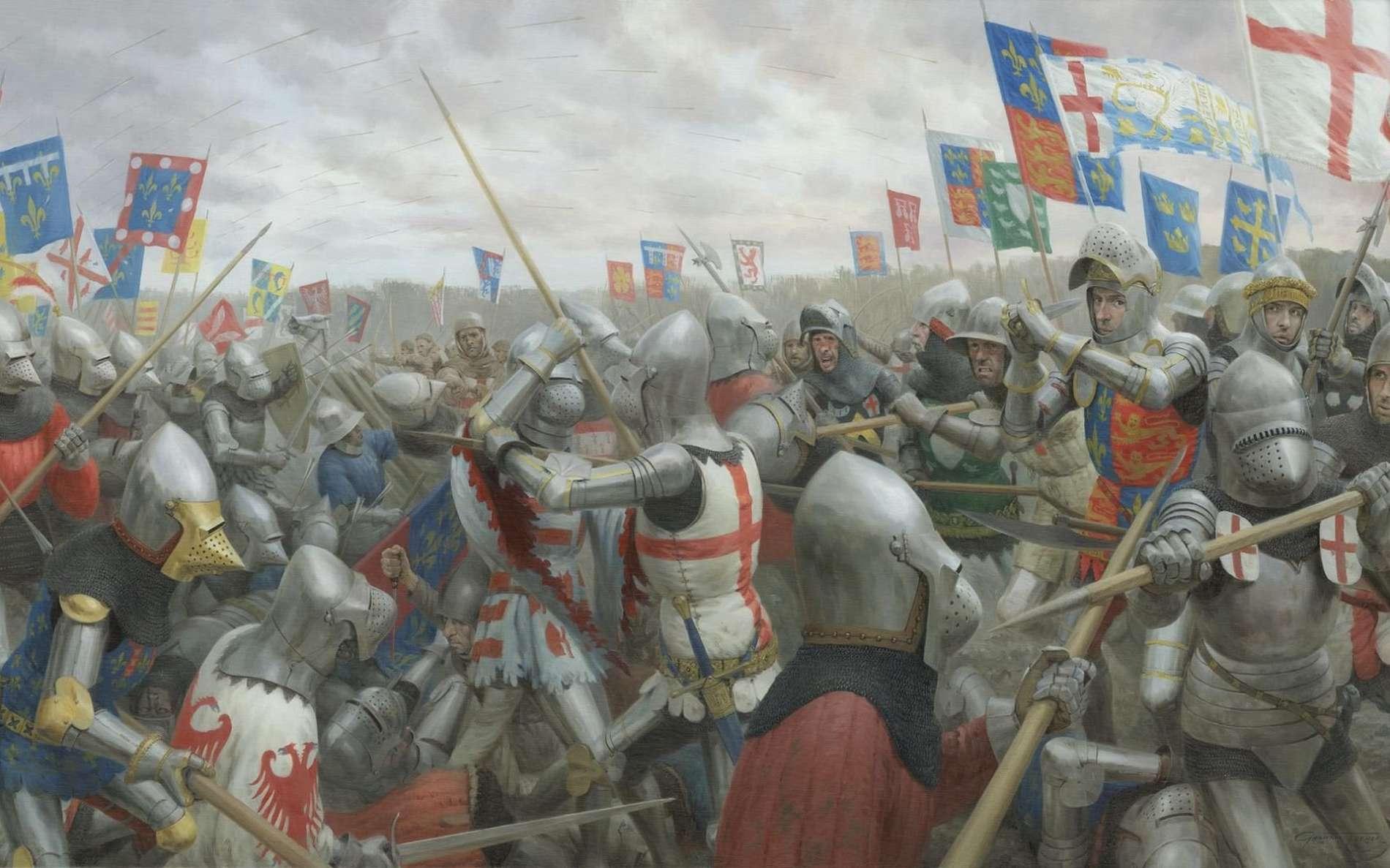 Tableau représentant le roi d'Angleterre Henry V au combat, entouré de ses gardes du corps, durant la bataille d'Azincourt, peint par Graham Turner en 2015, studio 88 limited, Aylesbury, Angleterre. © studio88.co.uk
