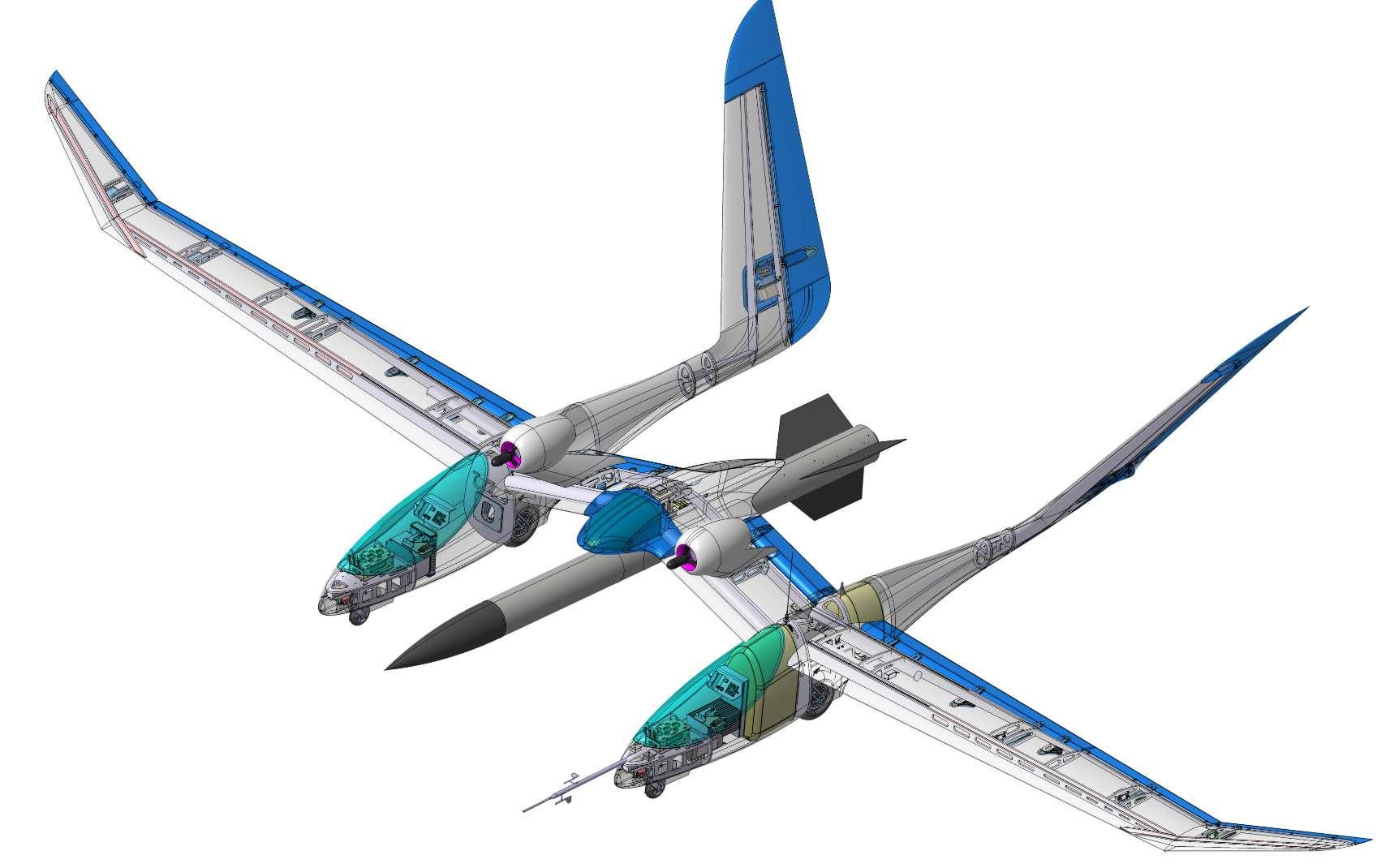 Eole est un démonstrateur à petite échelle (6,7 mètres d'envergure) d'un système de lancement aéroporté d'une envergure d'une trentaine de mètres. © Onera Office national d'études et de recherches aérospatiales - Wikipédia