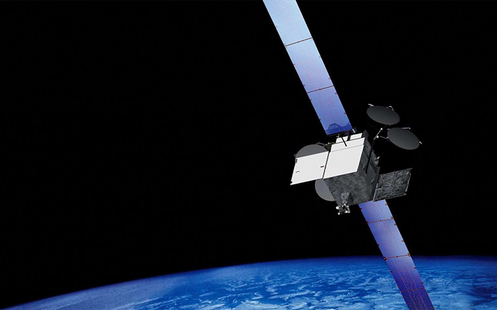 Vue d'artiste d'un satellite de télécommunications de Boeing, construit autour d'une plateforme de type 702HP. © Boeing