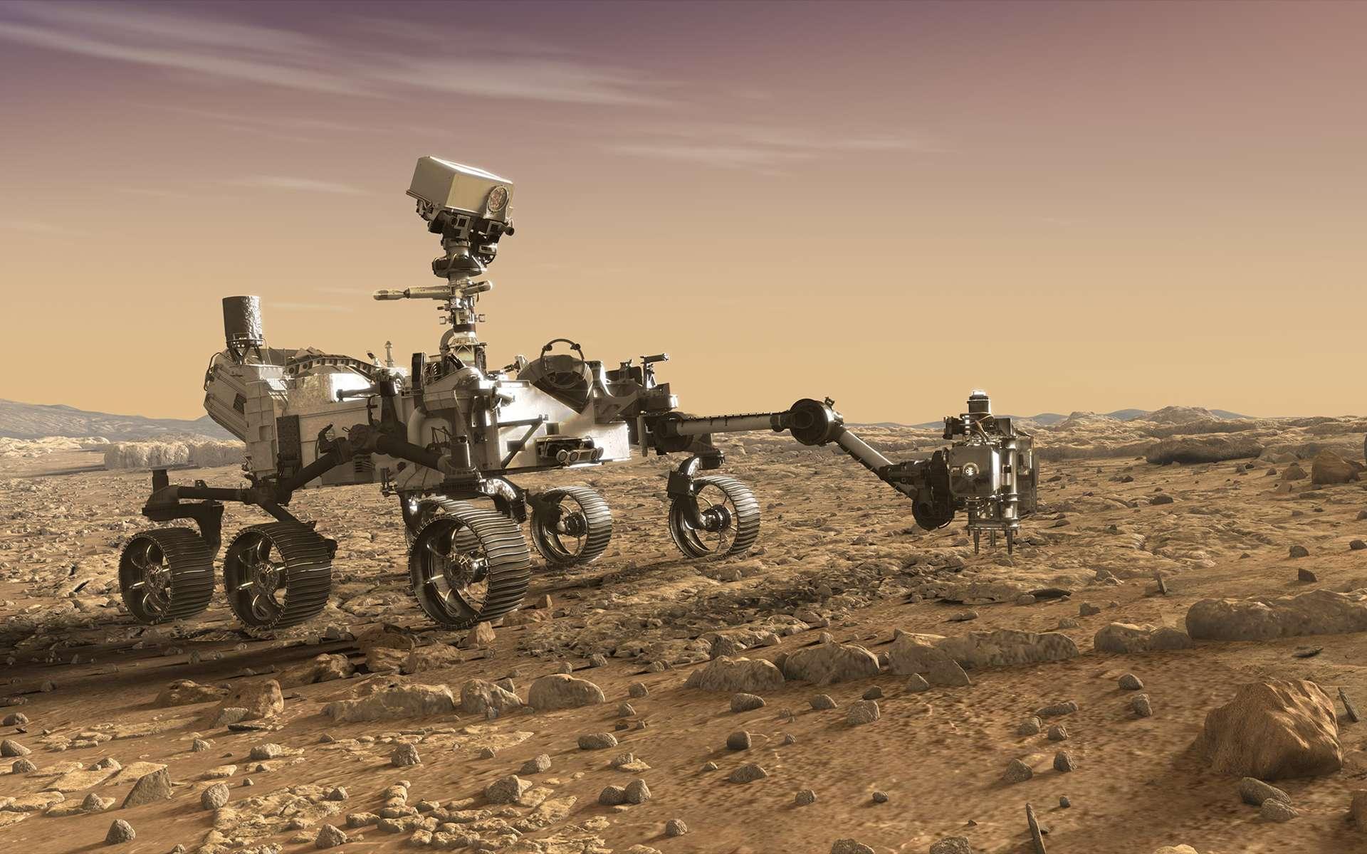 Vue d'artiste du rover Mars 2020. Afin de réduire les coûts et les risques technologiques, ce rover est construit autour de la même plateforme que Curiosity. Ce qui explique leur très forte ressemblance. © Nasa, JPL-Caltech