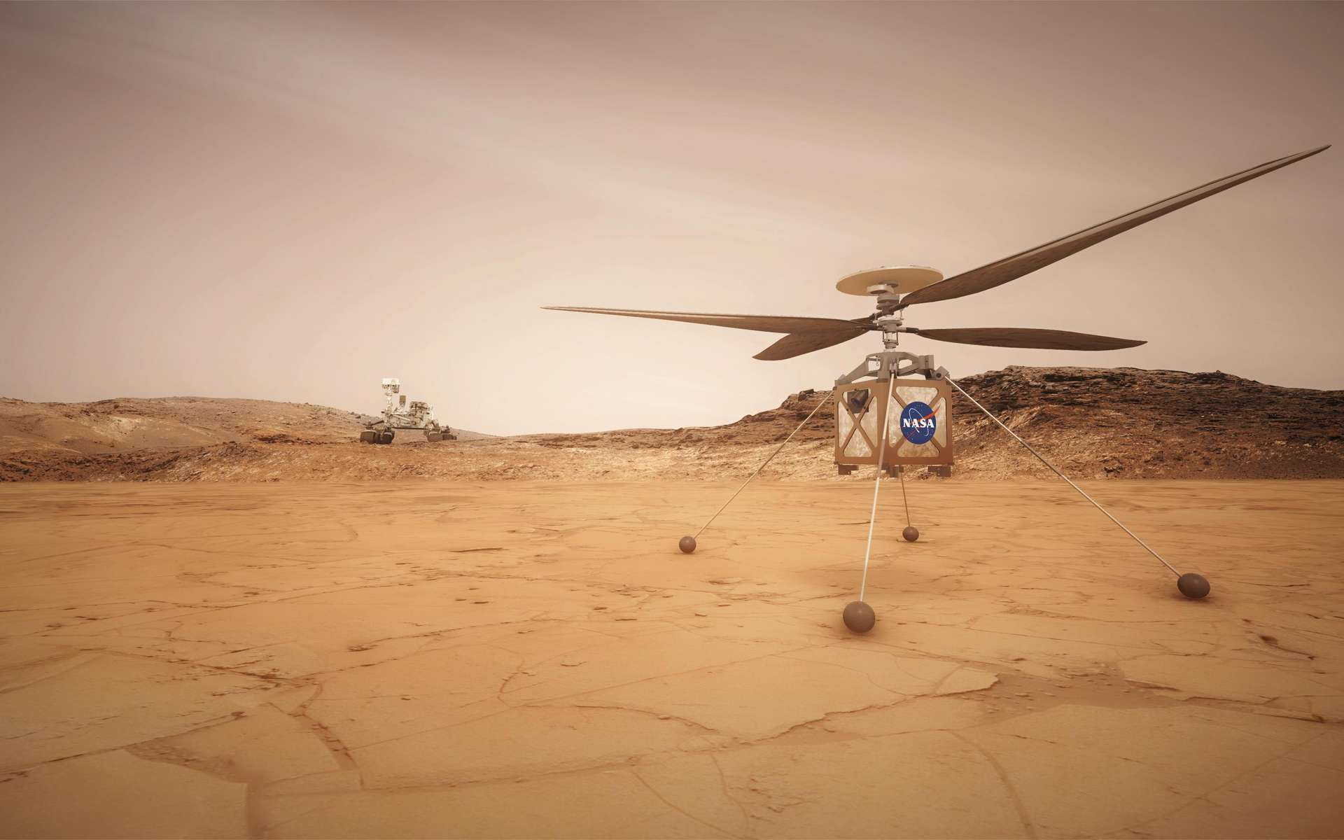 Vue d'artiste du Mars Helicopter développé par Bob Balaram et son équipe. © Nasa, JPL-Caltech