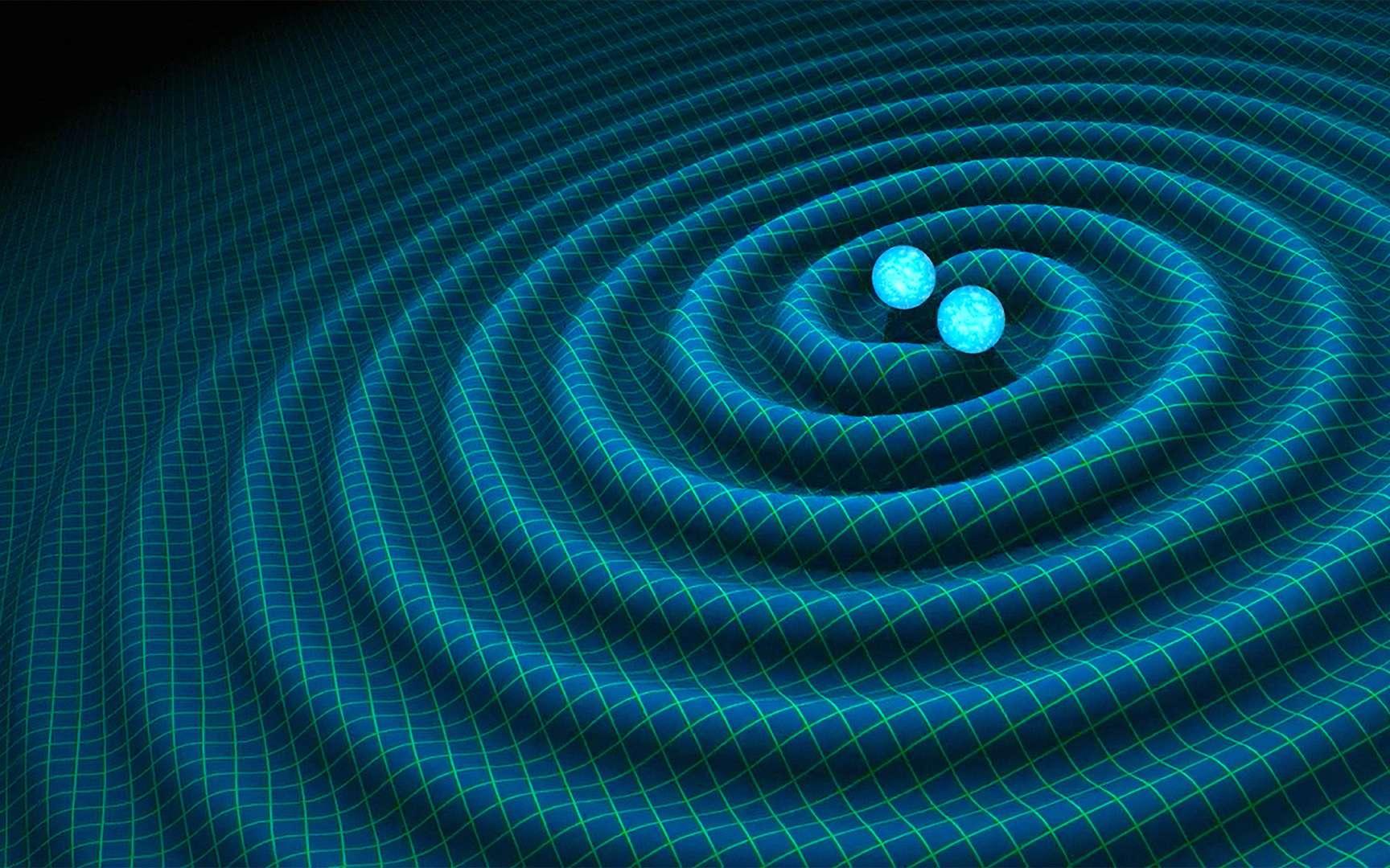 Découvrez notre top 5 des évènements qui ont marqué l'actualité astronomique de 2017. Ici, une vue d'artiste des ondes gravitationnelles générées par un système binaire d'étoiles à neutrons sur le point de fusionner. © R. Hurt, Caltech-JPL