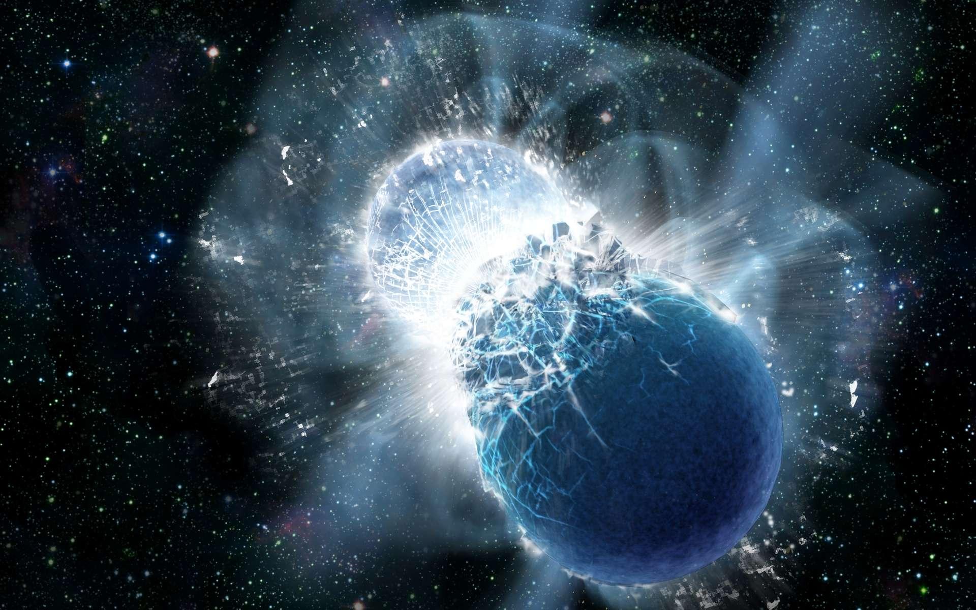 Une vue d'artiste de la collision de deux étoiles à neutrons. © Dana Berry, SkyWorks Digital