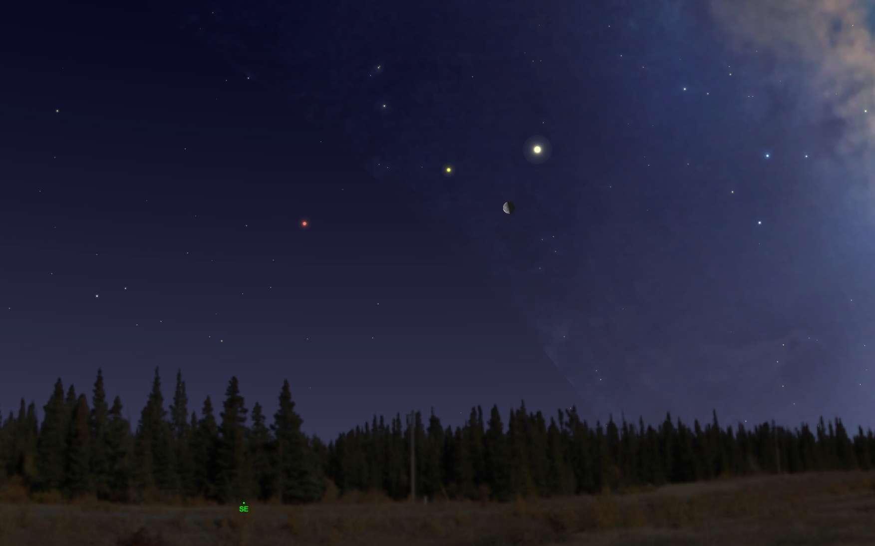 Trois planètes à observer le matin alignées avec la Lune