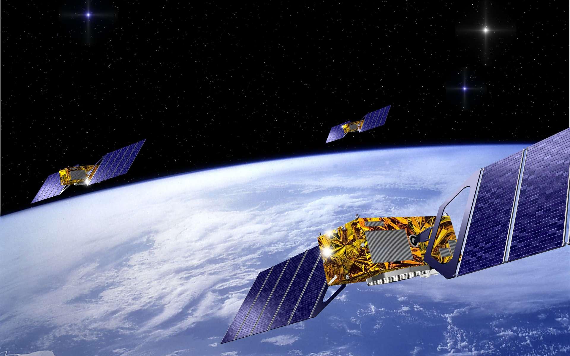Le système de positionnement par satellites européen baptisé Galileo, équivalent du GPS américain, comportera à terme 30 satellites. © ESA / J.Huart