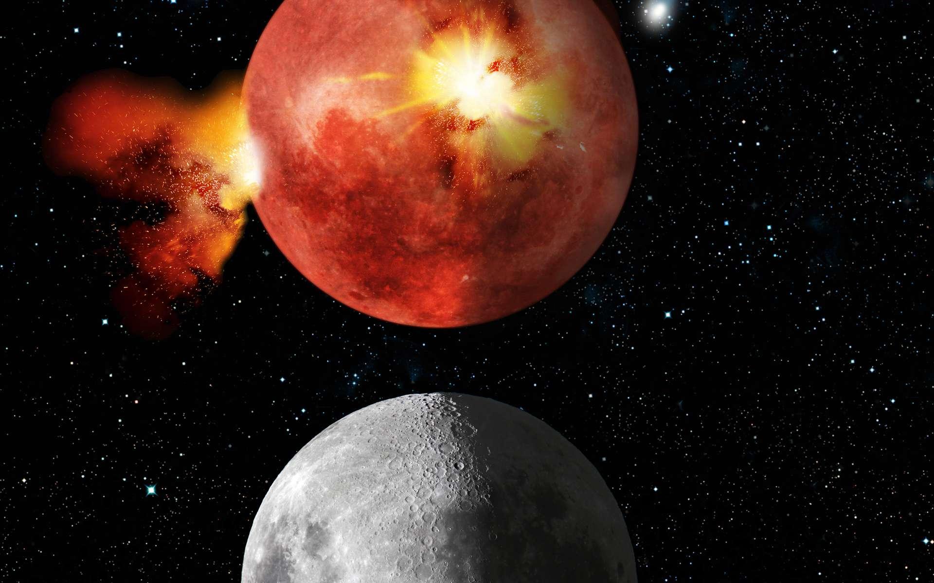 Une impression d'artiste montrant l'effet du LHB sur la Lune (en haut), expliquant la présence de nos jours des mers lunaires (en bas). © Tim Wetherell - Australian National University