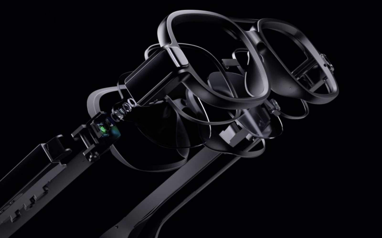 Les lunettes connectées autonomes de Xiaomi intègrent un véritable écran composé de microLED. © Xiaomi