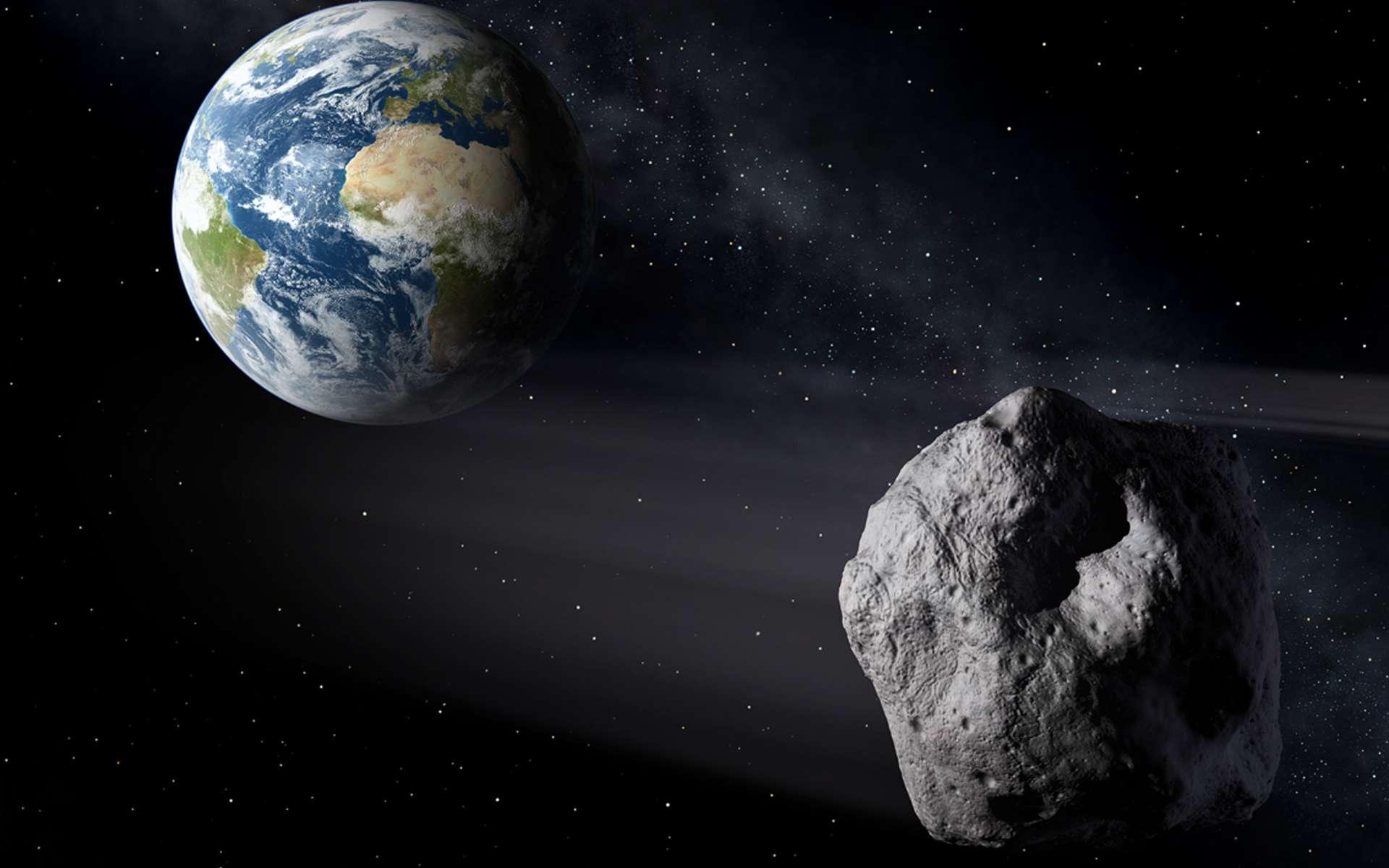 Illustration d'un astéroïde passant dans le voisinage de la Terre. © P. Carril, ESA