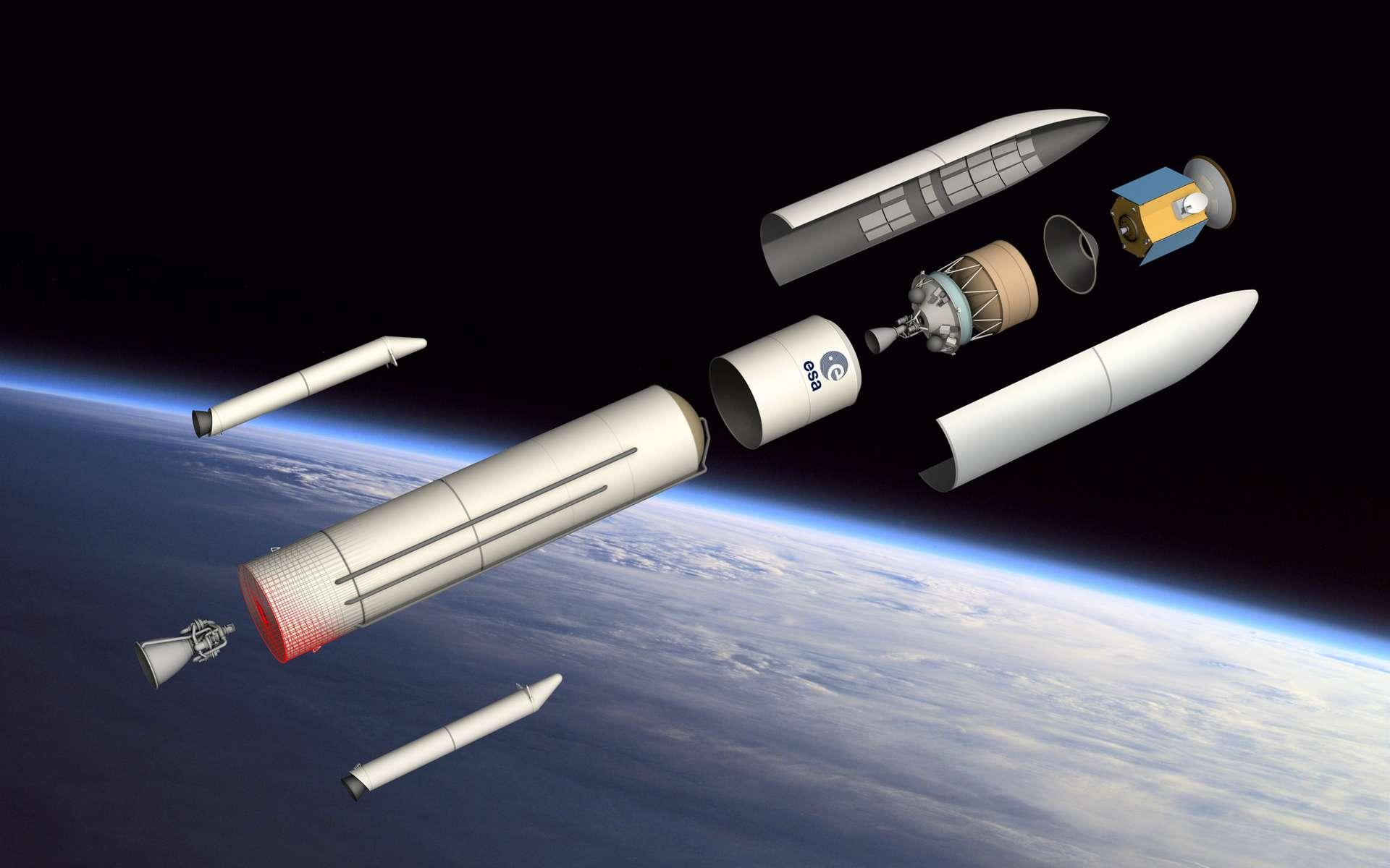 Avec Ariane 6, l'Esa abandonne le lancement double et revient au concept modulaire d'Ariane 4. Ce futur lanceur en ligne sera capable de mettre en orbite en lancement simple de 3 à 6,5 tonnes, ce qui représente l'essentiel des missions dites institutionnelles et commerciales que l'on peut prévoir à l'horizon 2020. © D. Ducros, Esa