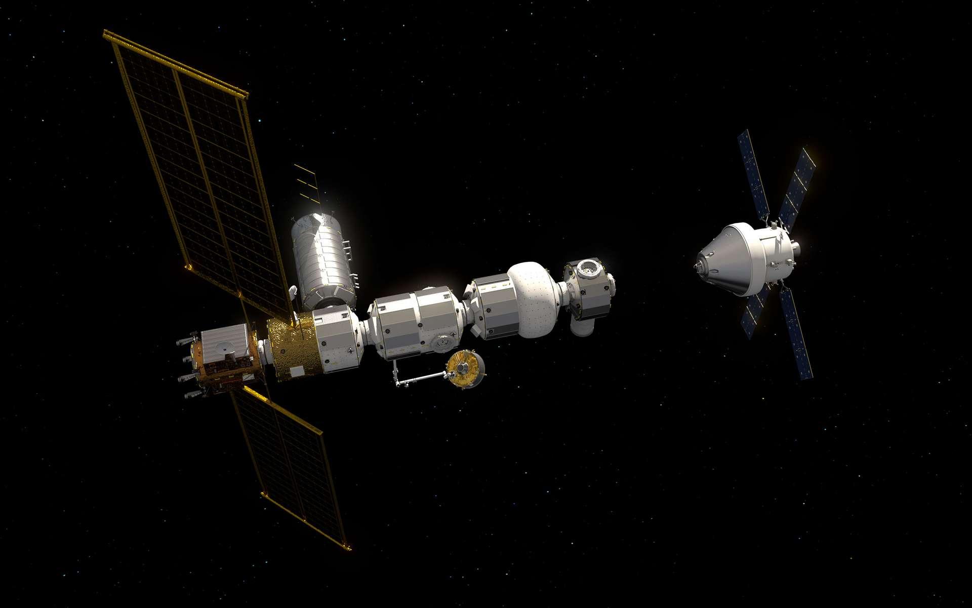 Vue d'artiste de la future petite station spatiale lunaire (Gateway) avec un véhicule spatial Orion en approche. © ESA, J. Huart