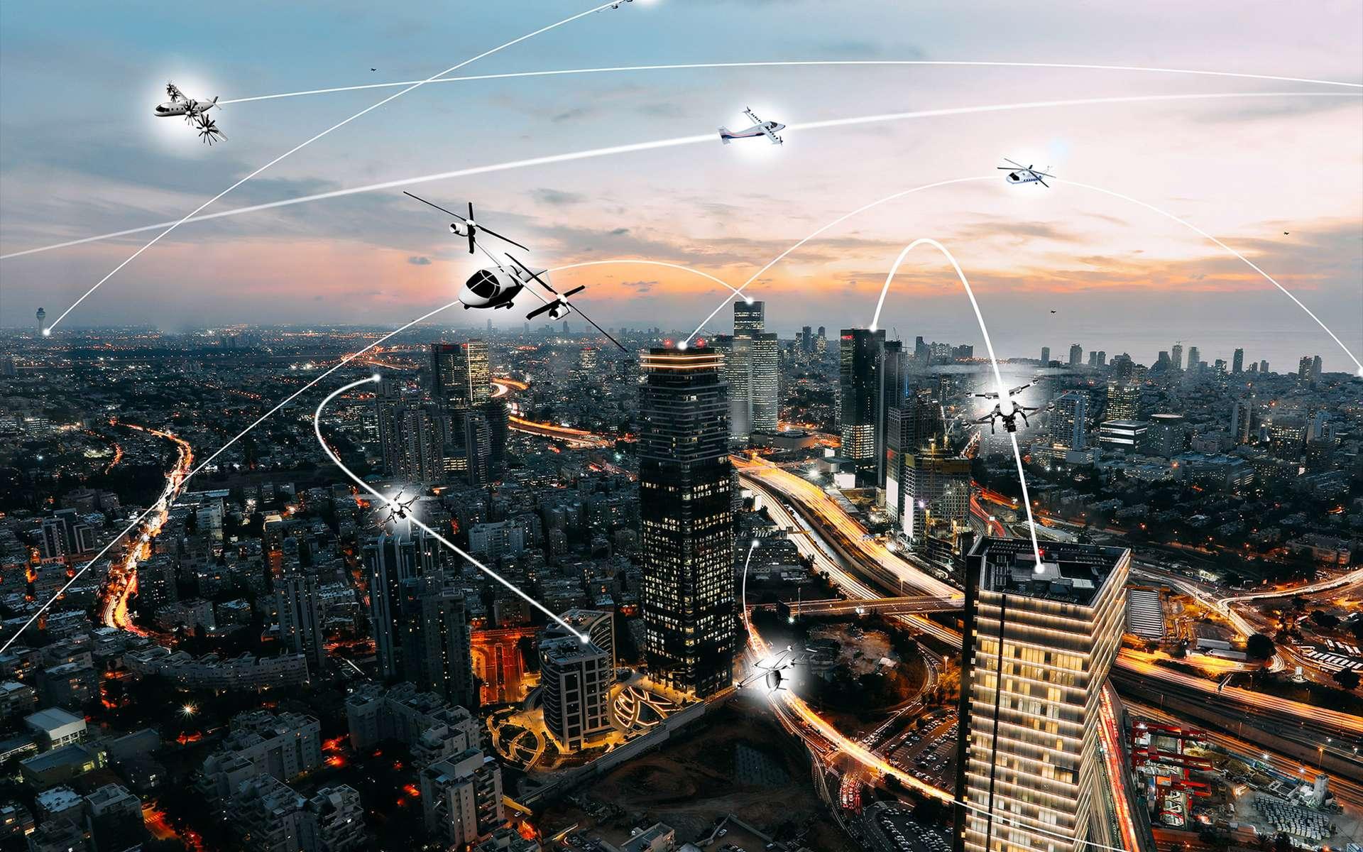 Le bel avenir de la mobilité urbaine aérienne où se côtoieront drones, véhicules volants et avions. © Nasa, Lillian Gipson