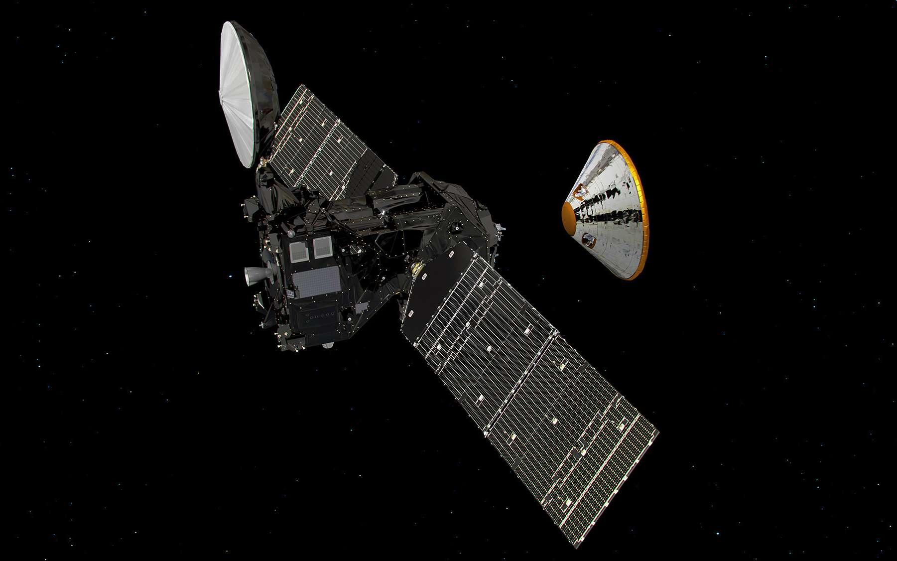 Illustration de la séparation du module Schiaparelli de la sonde TGO. © Esa, ATG medialab