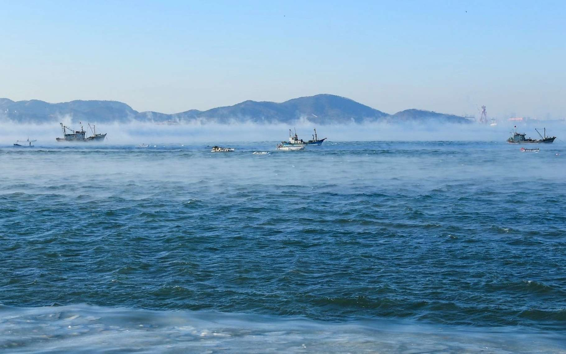 Le brouillard de mer observé ici en mer Arctique est un phénomène rare. Il apparaît lorsqu'un air glacial entre en contact avec une eau relativement chaude. © Shaoqing Wang, Académie des sciences chinoise