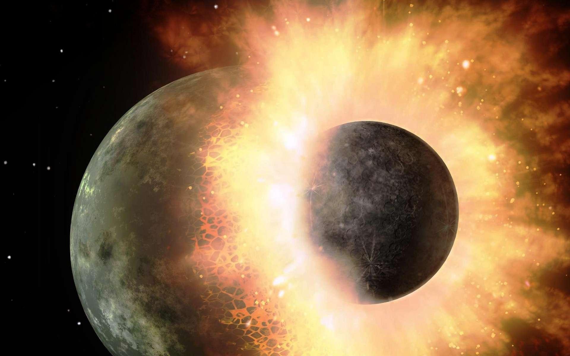 Une vue d'artiste d'une collision géante entre deux exoplanètes. © Nasa JPL-Caltech