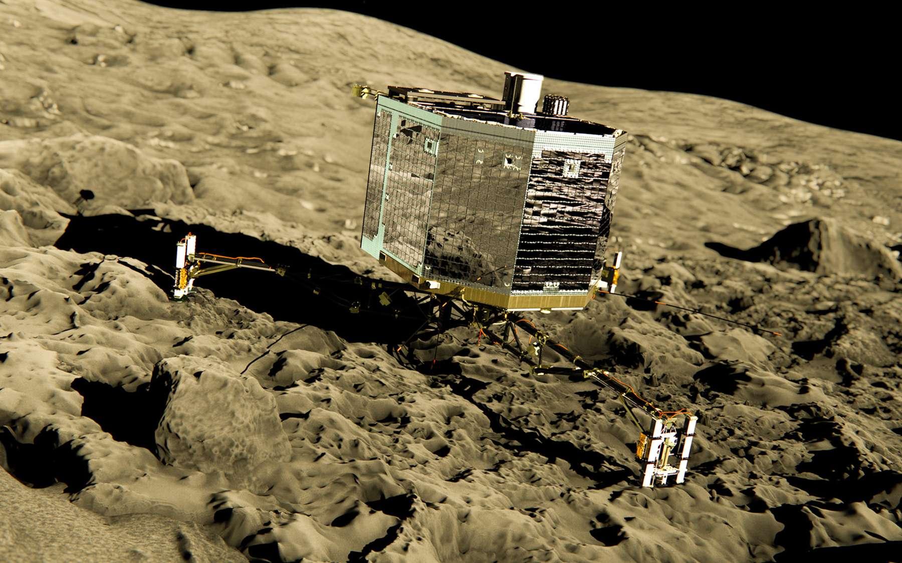 La position idéale de Philae sur la comète. Malheureusement, ce n'est qu'une vue d'artiste... © Esa/ATG Medialab