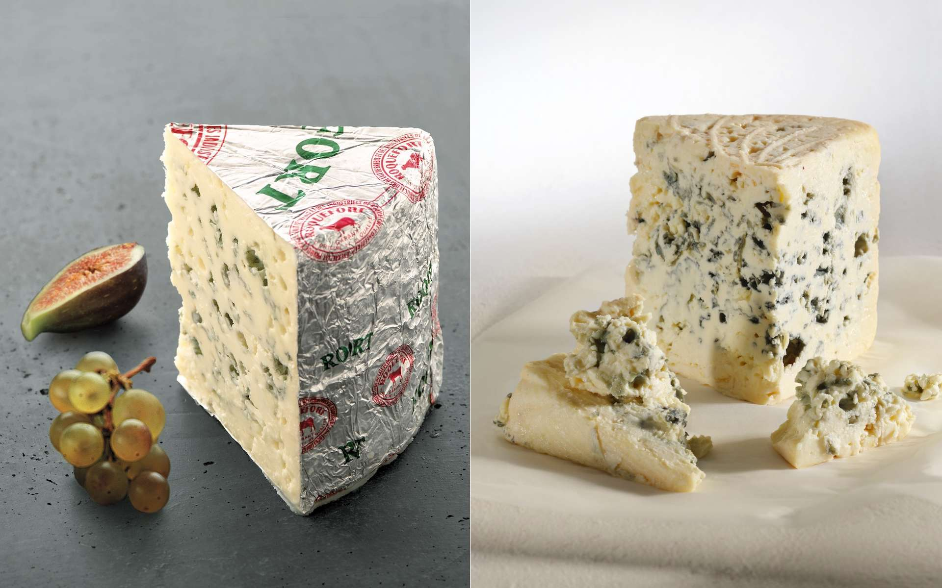 Le roquefort est fabriqué à partir de lait de brebis, tandis que le bleu est fabriqué avec du lait de vache. © PL.Viel, Cniel ; V.Ribaut, Les Studios Associés, Cniel