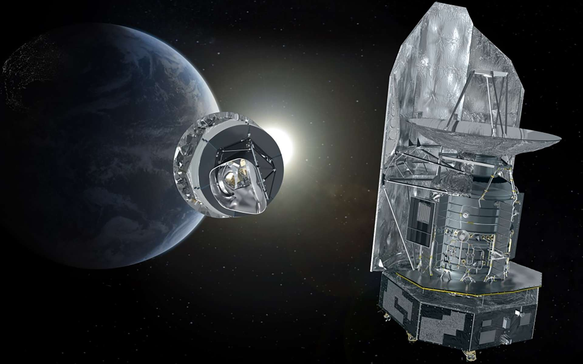 Vue d'artiste des satellites Planck et Herschel. © ESA, Thales Alenia Space