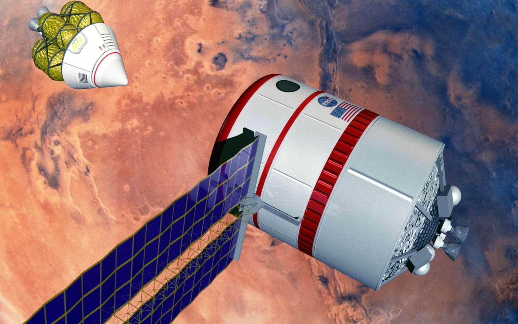 Les agences spatiales et les promoteurs privés en concurrence pour le vol habité vers Mars peuvent être satisfaits : Curiosity a pour ainsi dire retiré les radiations de la liste des critères épineux qui empêchaient la réalisation de ce type de voyage. On voit ici une des études de la Nasa. Une capsule, à gauche, vient de quitter Mars, et son équipage va bientôt embarquer le grand vaisseau, en orbite martienne, et qui ramènera les explorateurs jusqu'à la Terre. © Nasa, centre spatial Johnson