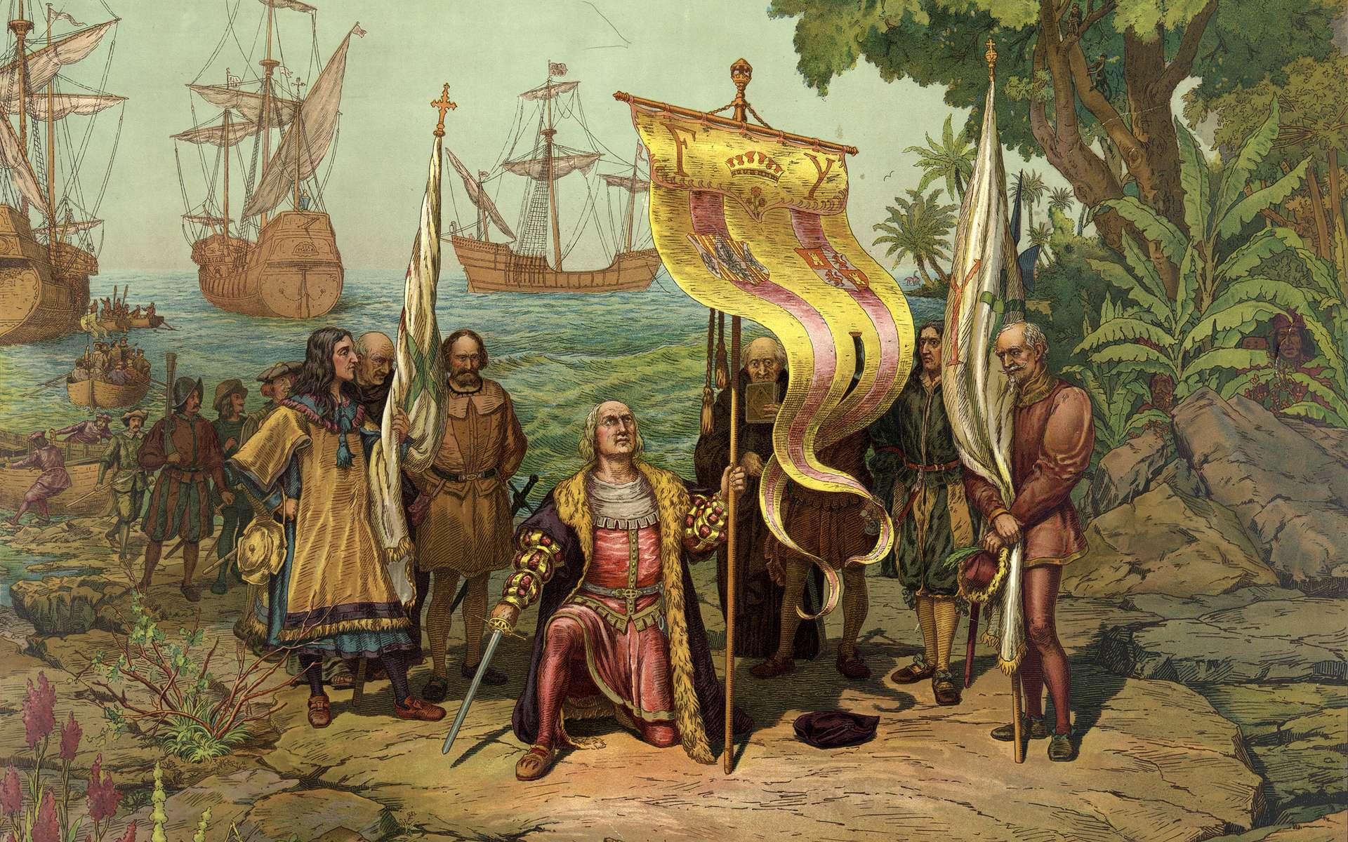Débarquement de Christophe Colomb sur l'île de San Salvador (Bahamas). Malgré plusieurs expéditions, Christophe Colomb n'accosta jamais sur la partie continentale de l'Amérique. © Wikimedia Commons, domaine public.