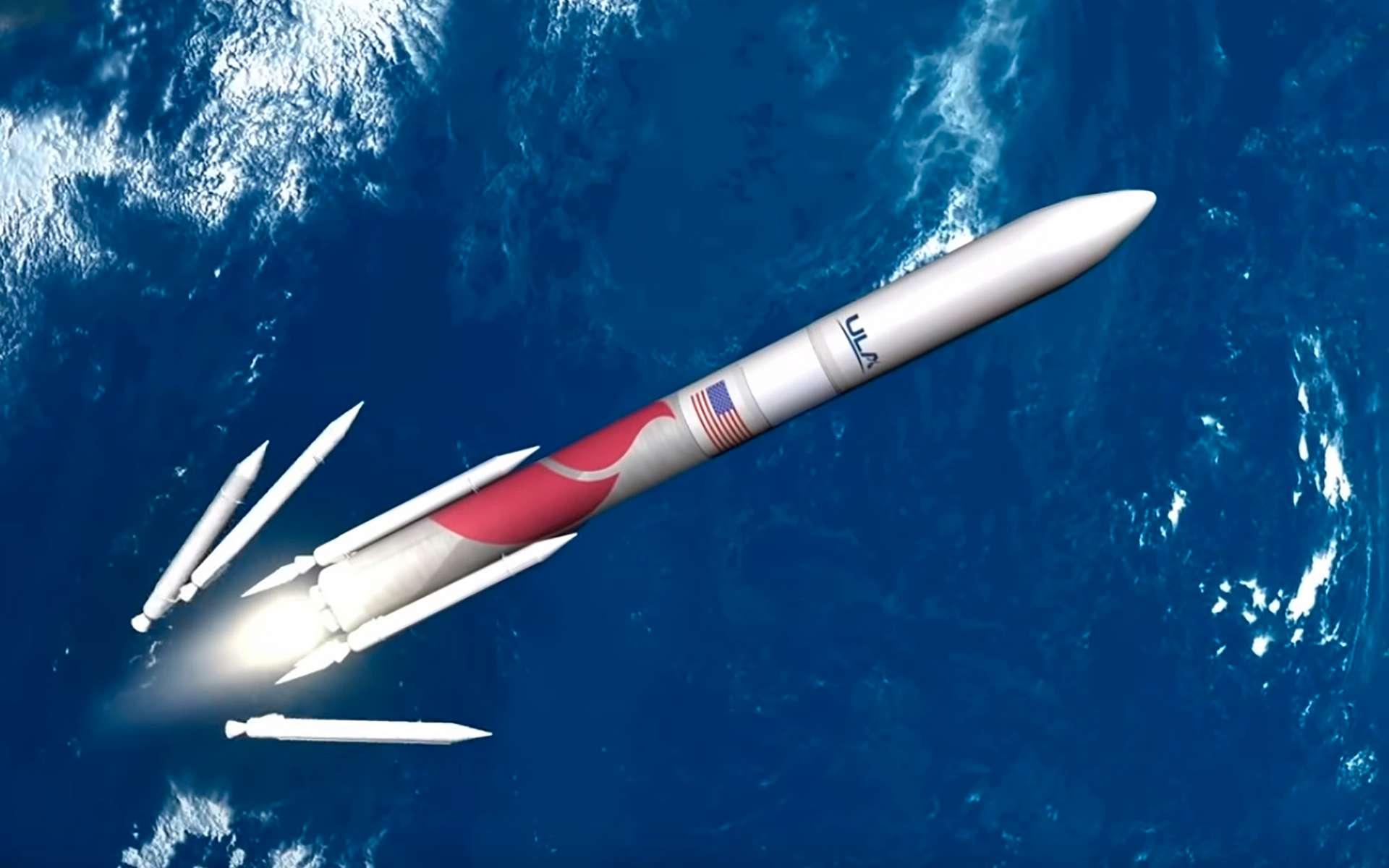 Vulcan, le futur lanceur lourd d'ULA dont la mise en service est prévue courant 2021. Ce lanceur sera décliné en deux versions qui se différencieront par le nombre de boosters d'appoint (quatre pour l'une, six pour l'autre) et le diamètre de la coiffe (quatre et cinq mètres). © ULA