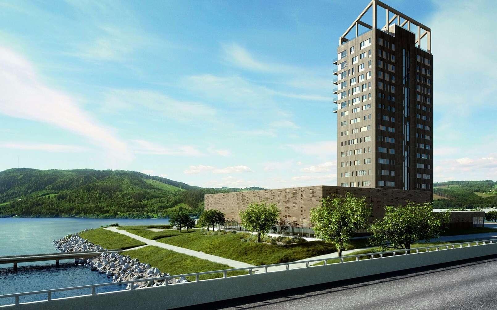 Une vue de la tour Mjøs une fois qu'elle sera achevée. © Metsa Wood