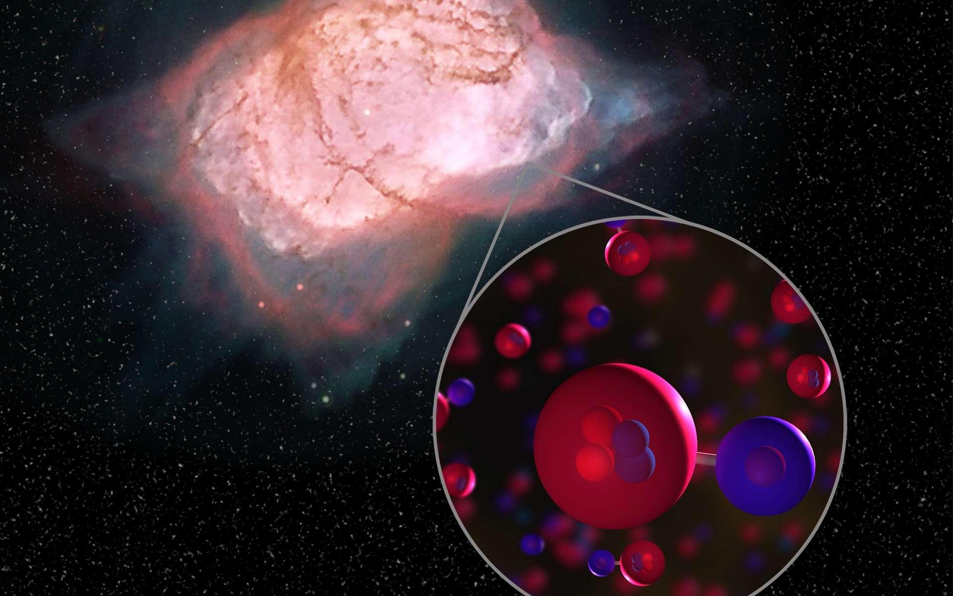Une vue d'artiste de la présence de molécules d'hydrure d'hélium dans une nébuleuse planétaire, en l'occurrence NGC 7027. © Nasa Sofia, L. Proudfit, D. Rutter