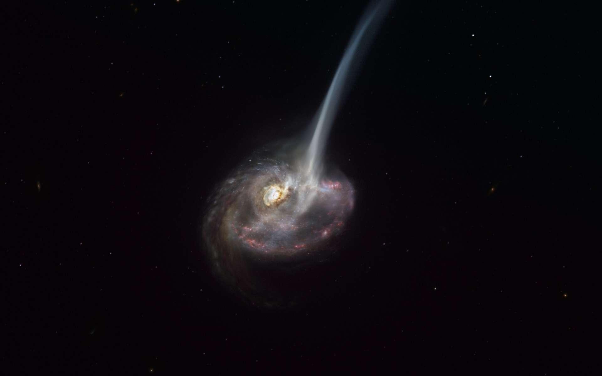 Cette vue d'artiste d'ID2299 montre la galaxie, fruit d'une collision galactique, et une partie de son gaz éjecté par une « queue de marée » à la suite de la fusion. Elle illustre les nouvelles observations faites avec Alma, dont l'ESO est partenaire qui ont permis de saisir les premières étapes de cette éjection, avant que le gaz n'atteigne les très grandes échelles. © ESO, M. Kornmesser