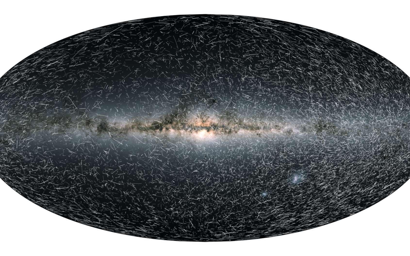 Cette image est extraite de la vidéo principale de l'article de Futura présentant initialement les positions actuelles dans le ciel pour 40.000 étoiles à moins de 100 parsecs (326 années-lumière) du Soleil vues par Gaia. Les points indiquent également la luminosité des étoiles. Les images suivantes montrent des traînées qui indiquent comment les étoiles changent de position sur le ciel à des intervalles de temps de 80.000 ans dans le futur pendant 1,6 million d'années. L'animation montre en fait les traînées d'étoiles seulement sur 400.000 ans dans le futur. © ESA/Gaia/DPAC, CC by-sa 3.0 IGO