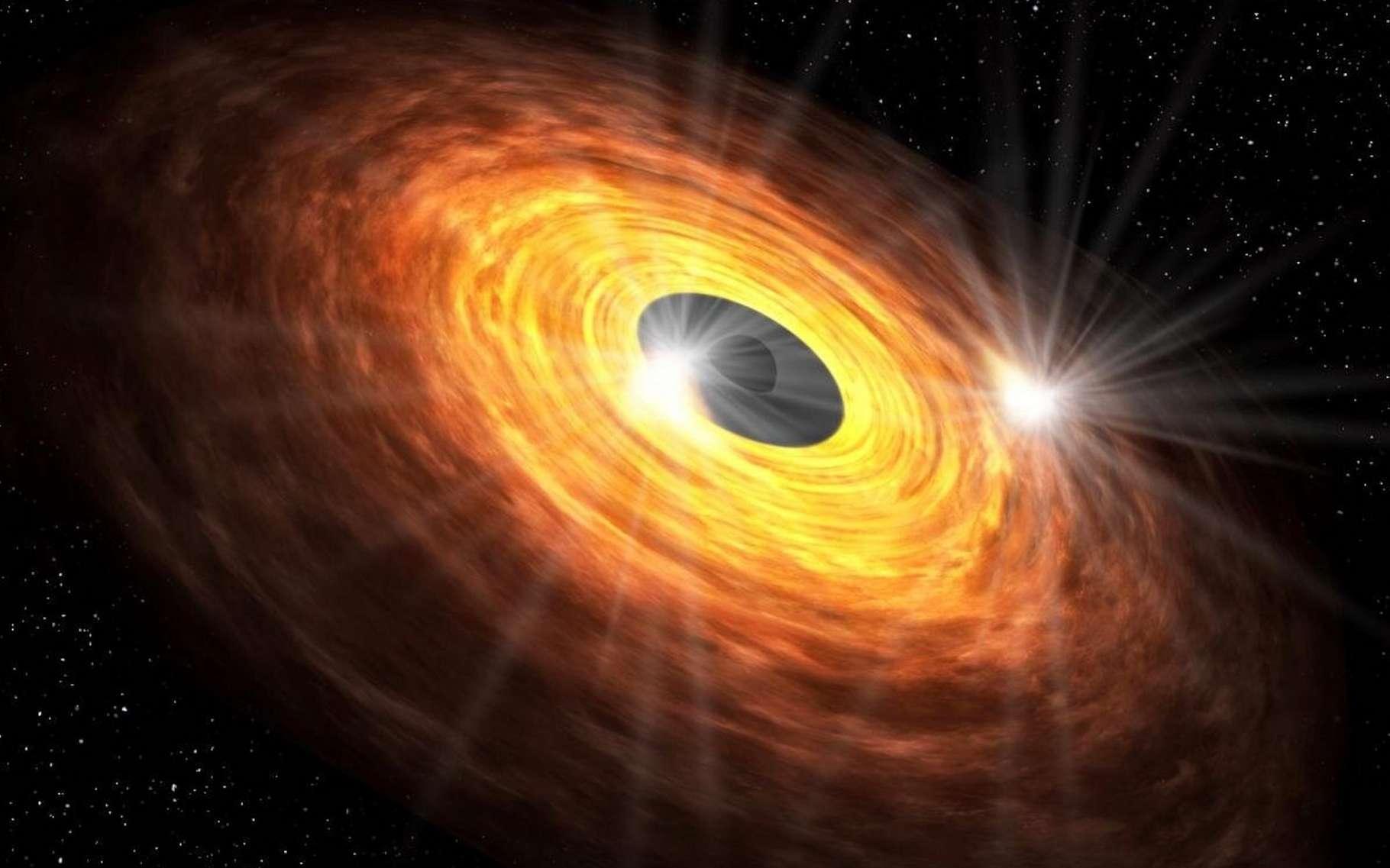 Selon des chercheurs de l'université Keio (Japon), le disque d'accrétion du trou noir supermassif au centre de la Voie lactée est le lieu de points chauds qui pourraient produire le type d'émissions millimétriques quasi périodique observé par le Grand réseau d'antennes millimétrique/submillimétrique de l'Atacama (Alma - Chili). © Université Keio