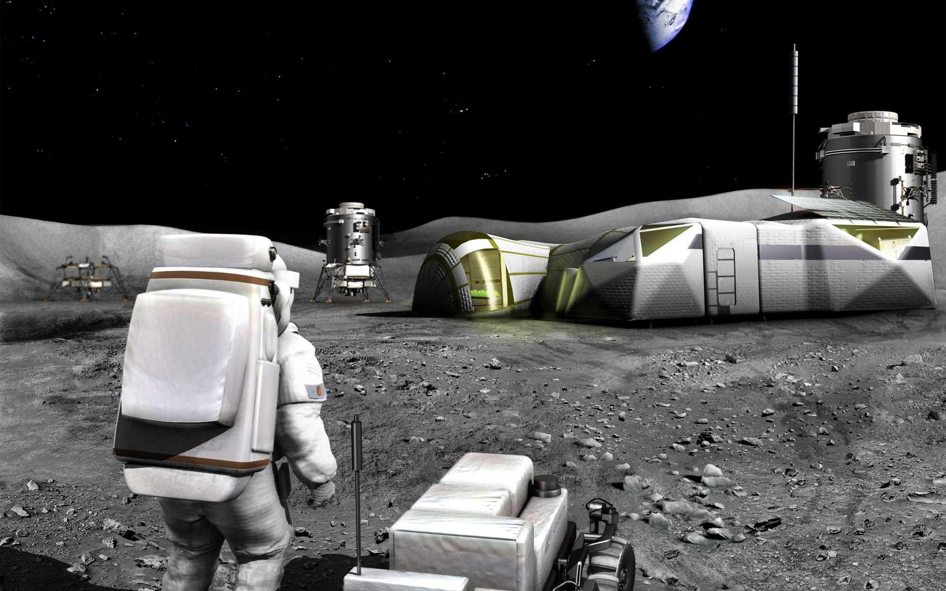 Un des scénarios envisagés par l'Agence spatiale européenne, en 2006, de ce qu'aurait pu être l'exploration robotique et humaine de la Lune. © Esa, Medialab