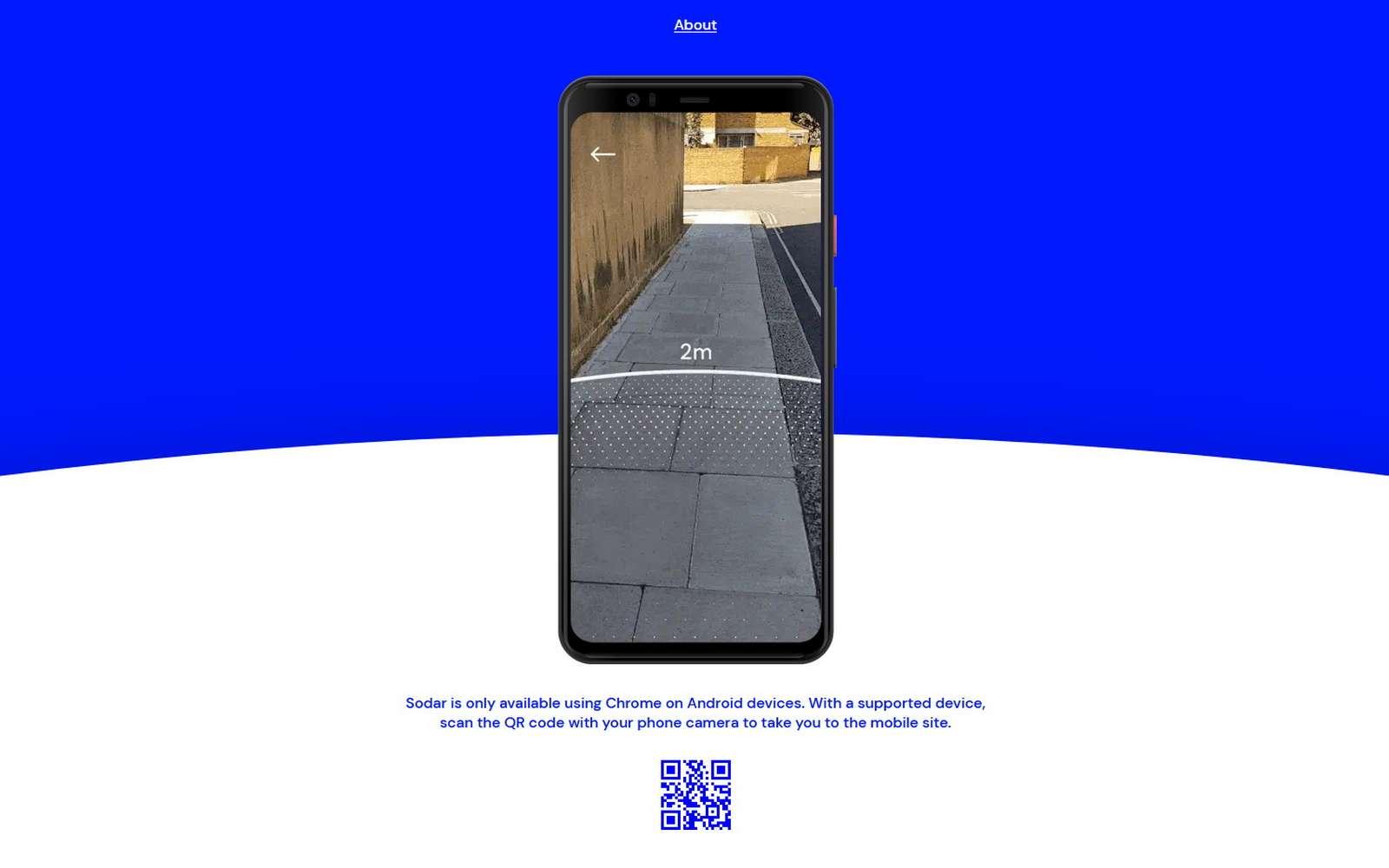 Google Sodar aide à évaluer la distanciation physique en affichant un cercle de deux mètres autour de soi en réalité augmentée. © Google
