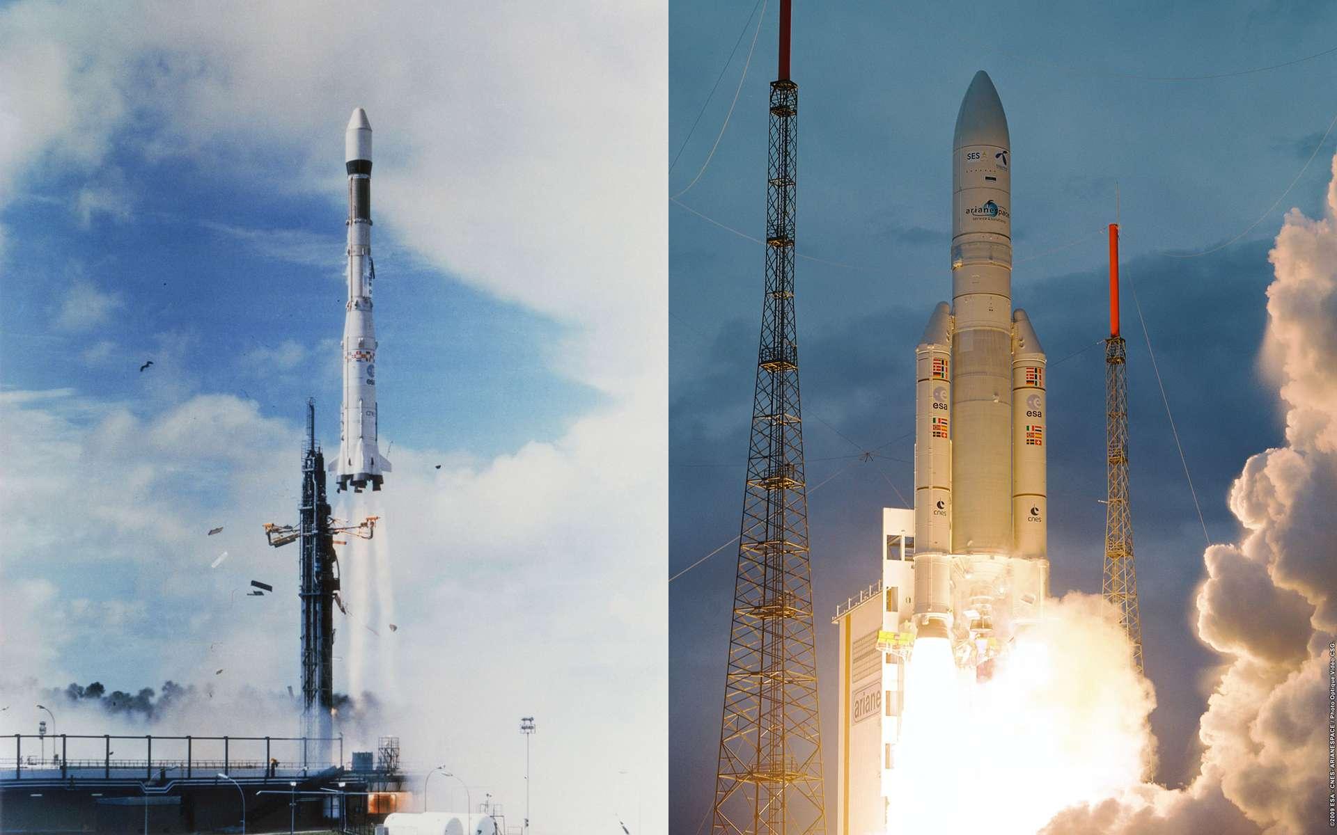 D'Ariane 1 à Ariane 5, cette famille de lanceur a assuré à l'Europe trois décennies d'accès indépendant à l'espace. Crédits Esa / Cnes / Arianespace - Service optique CSG