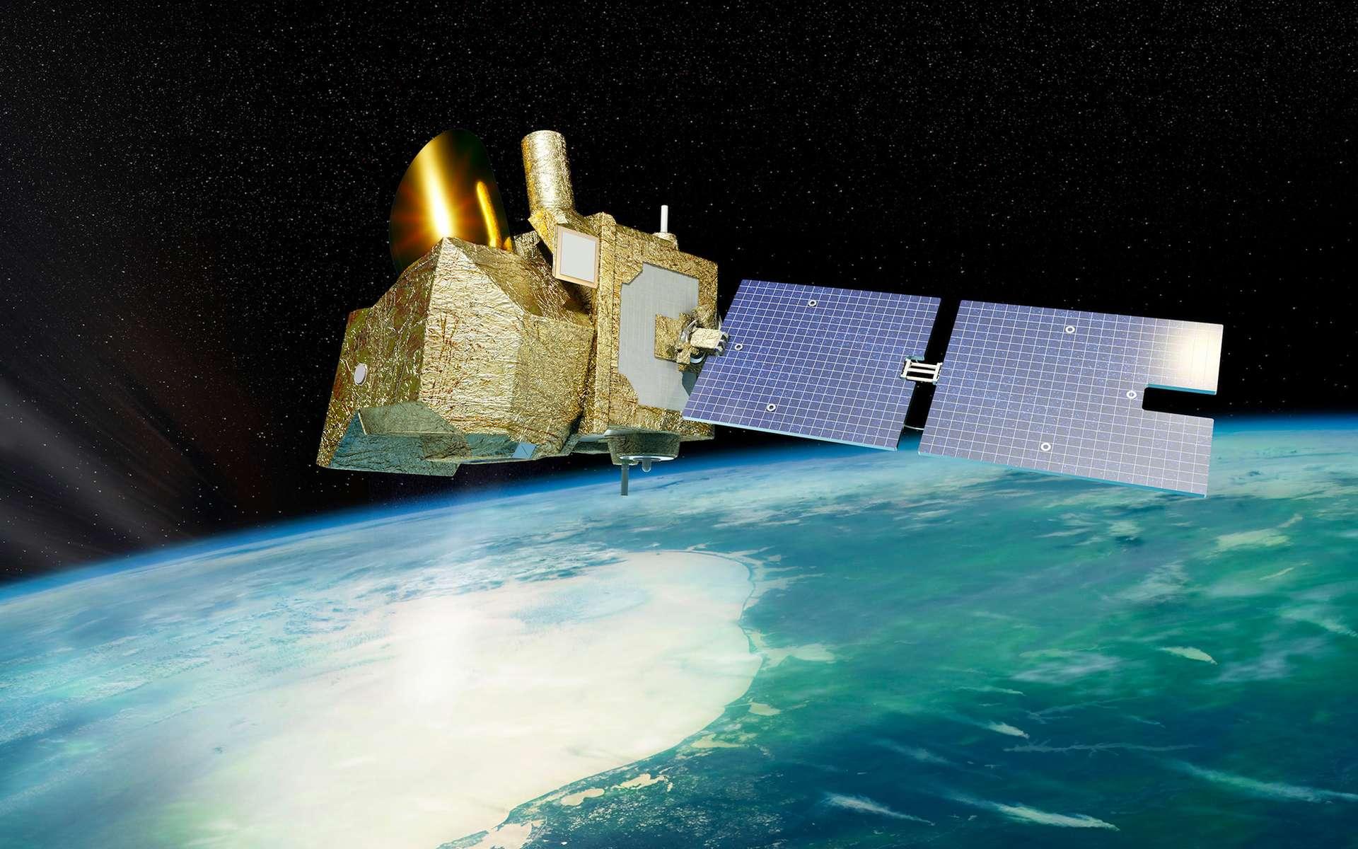 Vue d'artiste du satellite MicroCarb qui sera lancé en 2021 avec comme objectif de mesurer le CO2. Son unique instrument sera capable de fournir des mesures de concentration de dioxyde de carbone avec une précision de 1 ppm et les émissions de ce gaz produites par les usines, les villes, la végétation et les océans. © Cnes, Olivier Sattler