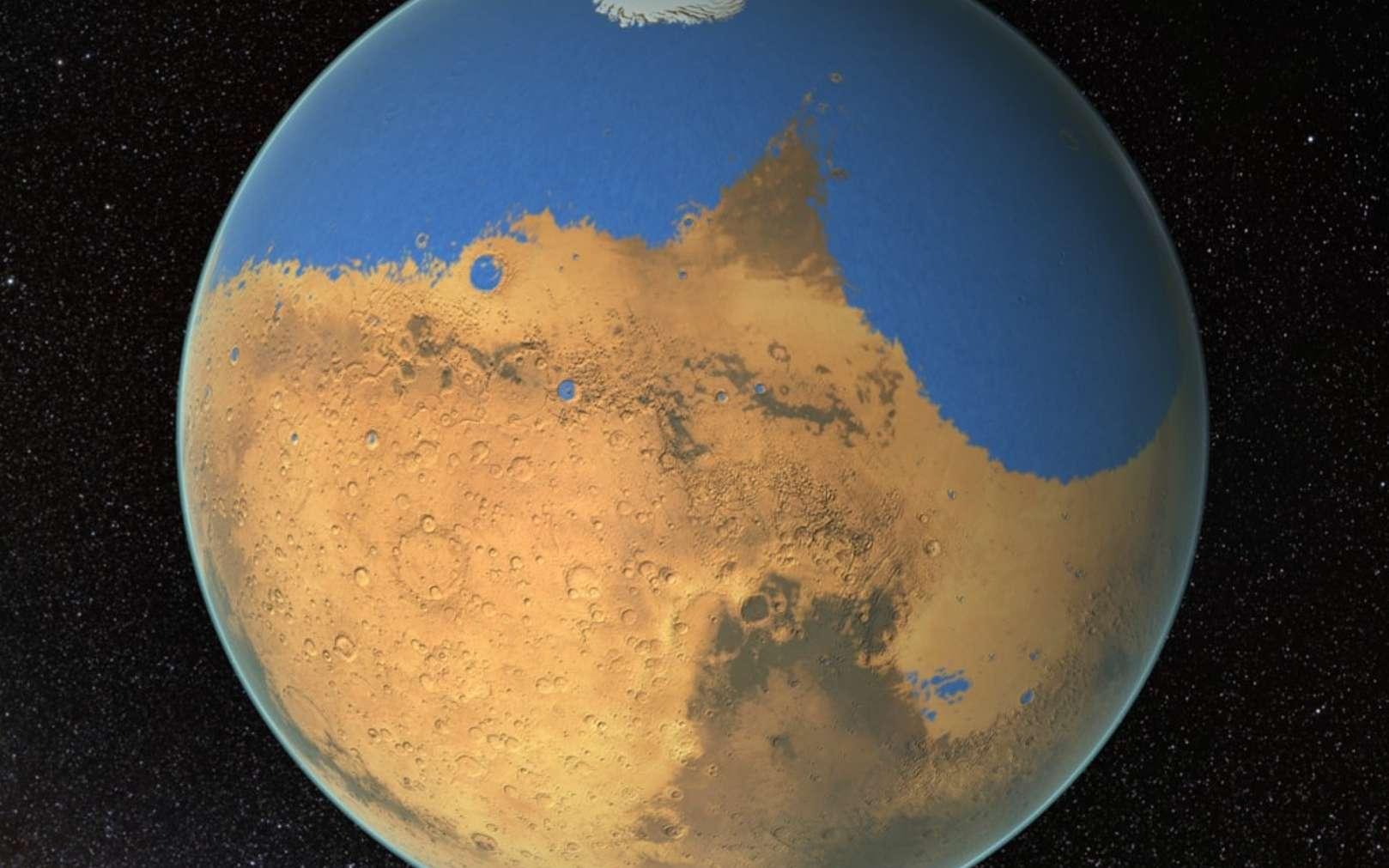Une vue d'artiste de l'époque où Mars possédait encore de l'eau. © Nasa's Goddard Space Flight Center