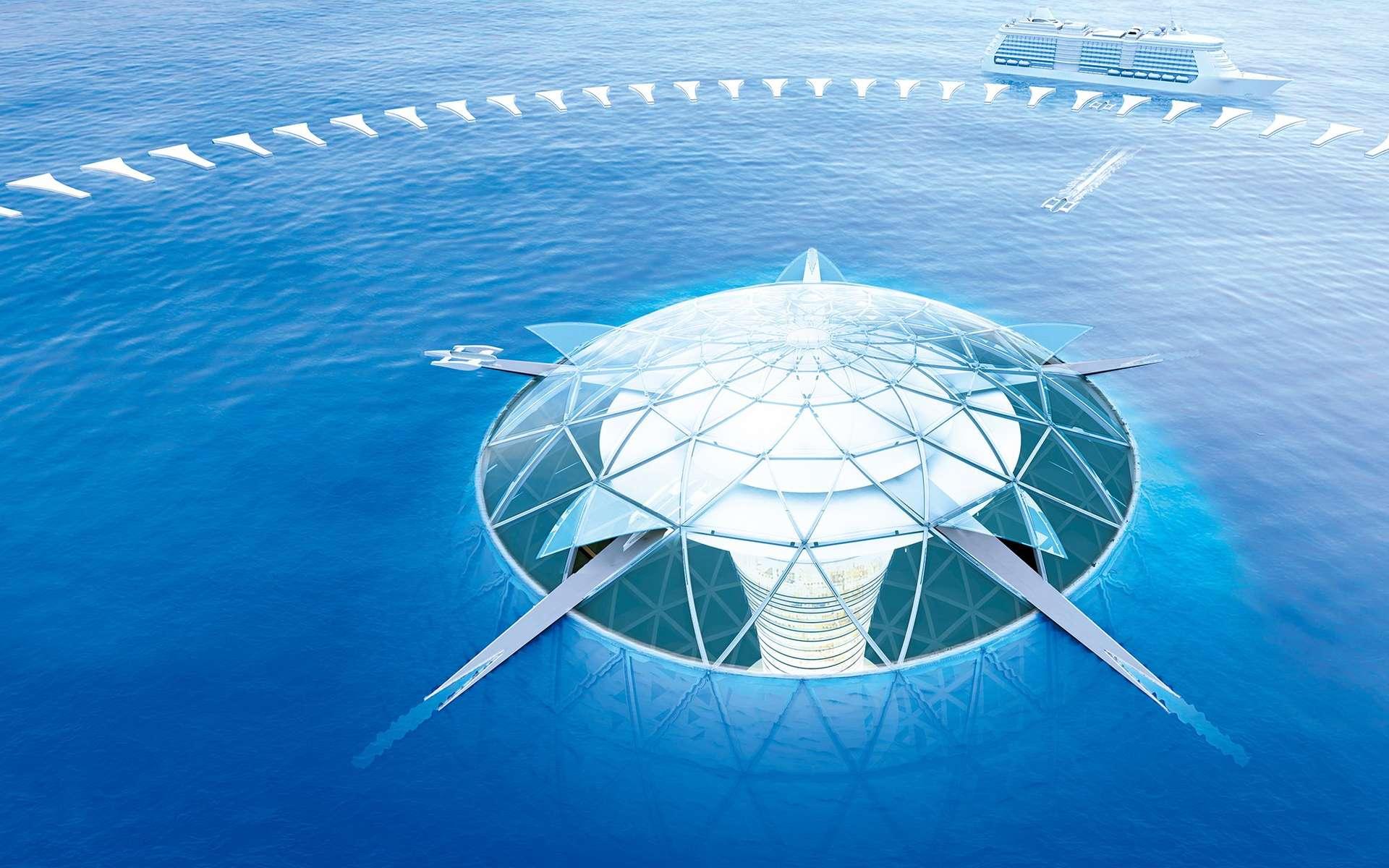 La partie émergée de la sphère d'habitation d'Ocean Spiral, avec ses zones portuaires. Cette ambitieuse étude entend démontrer qu'il est possible de vivre sous la mer en exploitant ses ressources d'une manière raisonnée. © Shimizu