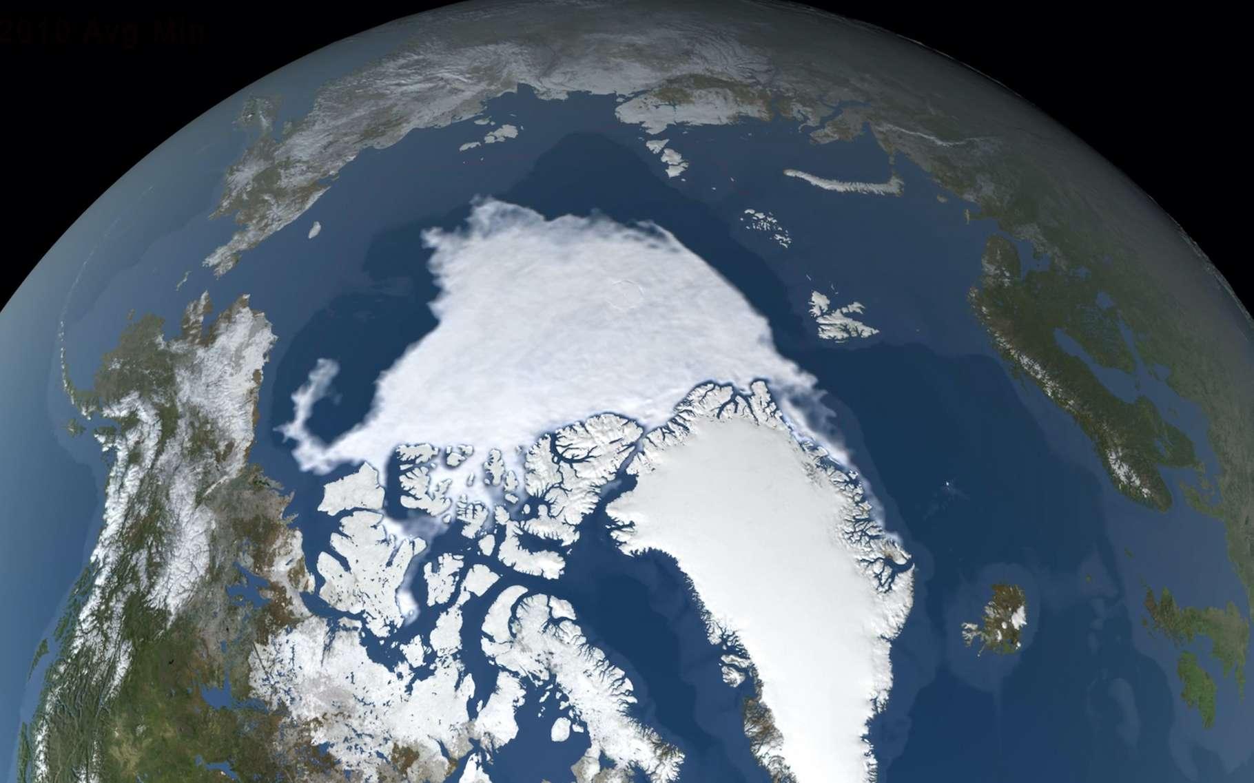 Dans l'océan Arctique, la glace de mer a atteint une étendue minimale de 3,74 millions de km2 ce 15 septembre 2020, la deuxième plus faible étendue depuis le début des enregistrements. © Nasa's Scientific Visualization Studio