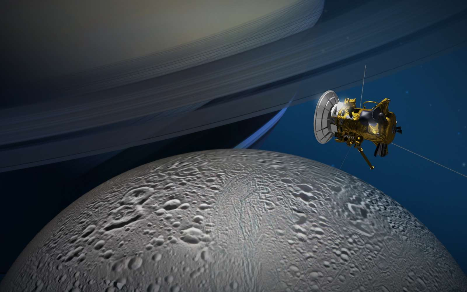 Une vue d'artiste de Cassini entre Saturne et Encelade. © Nasa