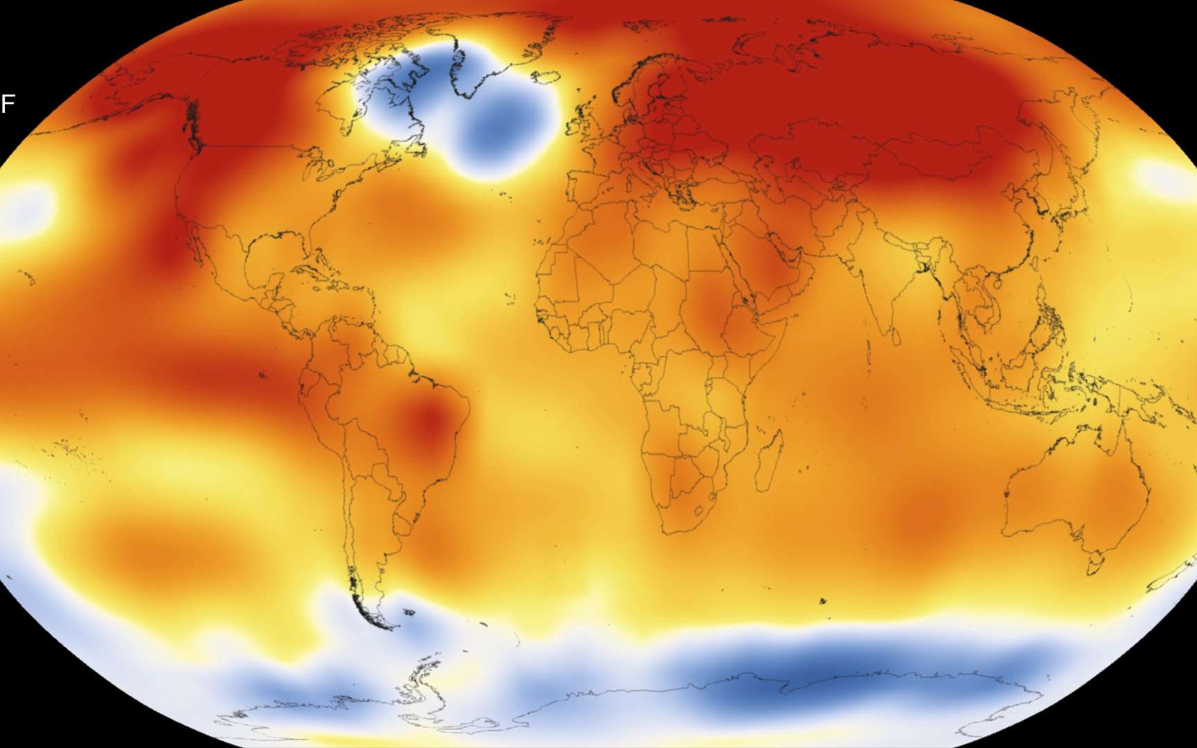 Carte des anomalies de température en 2015 en degré Fahrenheit. © Scientific Visualization Studio, Goddard Space Flight Center