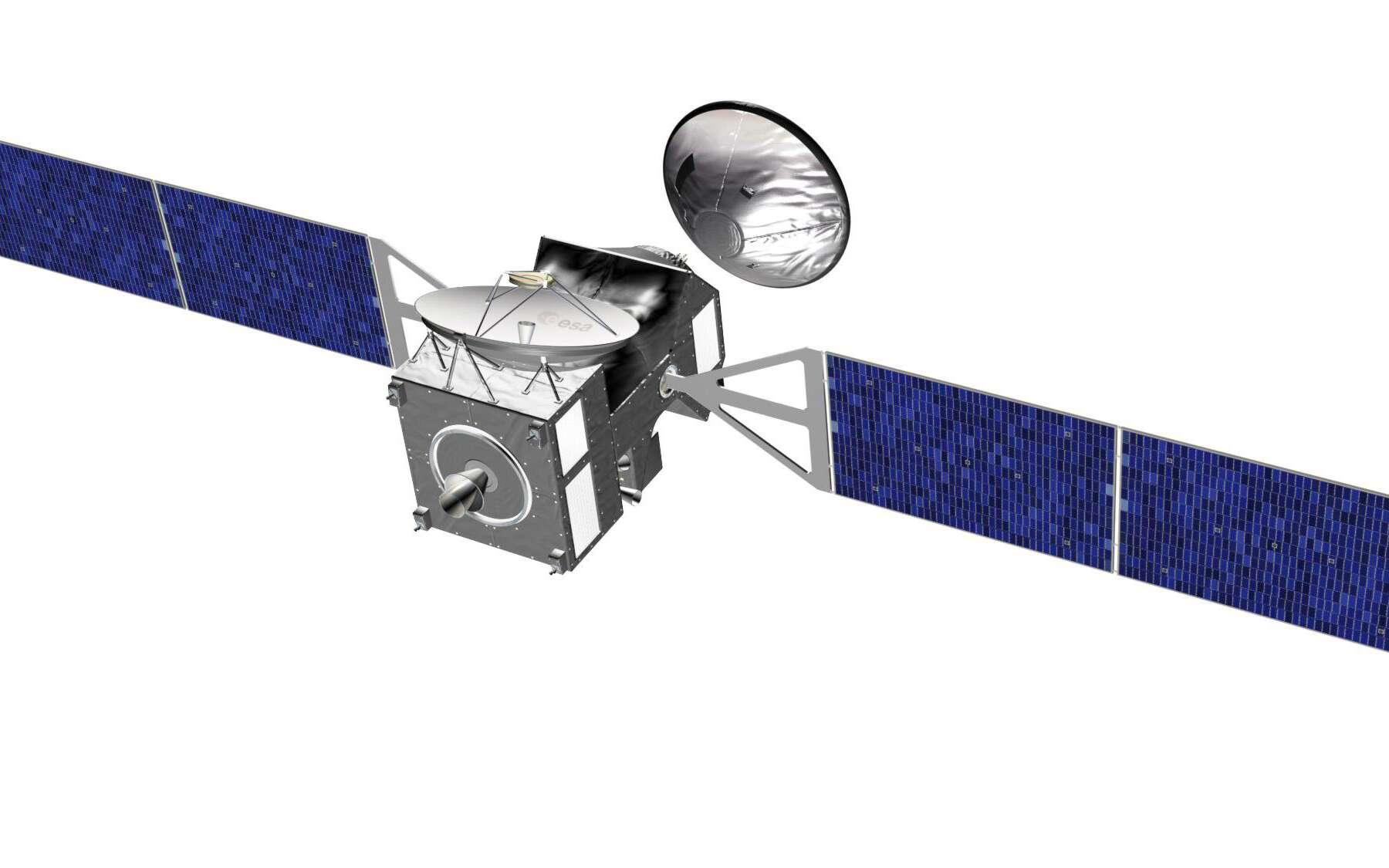 L'orbiteur Trace Gas Orbiter d'ExoMars et l'atterrisseur de l'Esa qui permettra à l'Europe d'apprendre à se poser sur Mars. Crédit Esa
