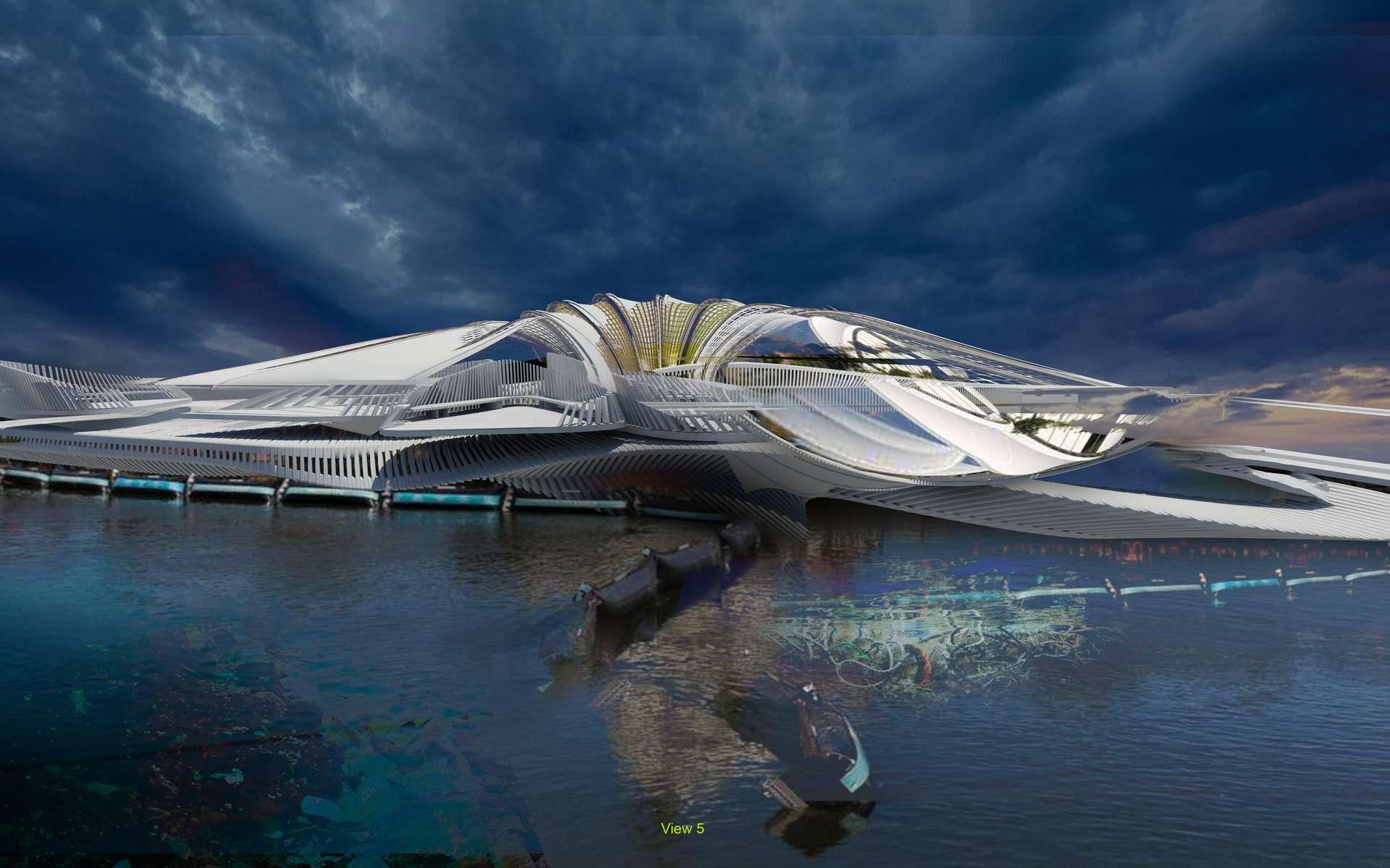 Le Recycled Ocean Plastic Resort est censé voir le jour en 2025 aux îles Coco. © Margot Krasojević Architecture