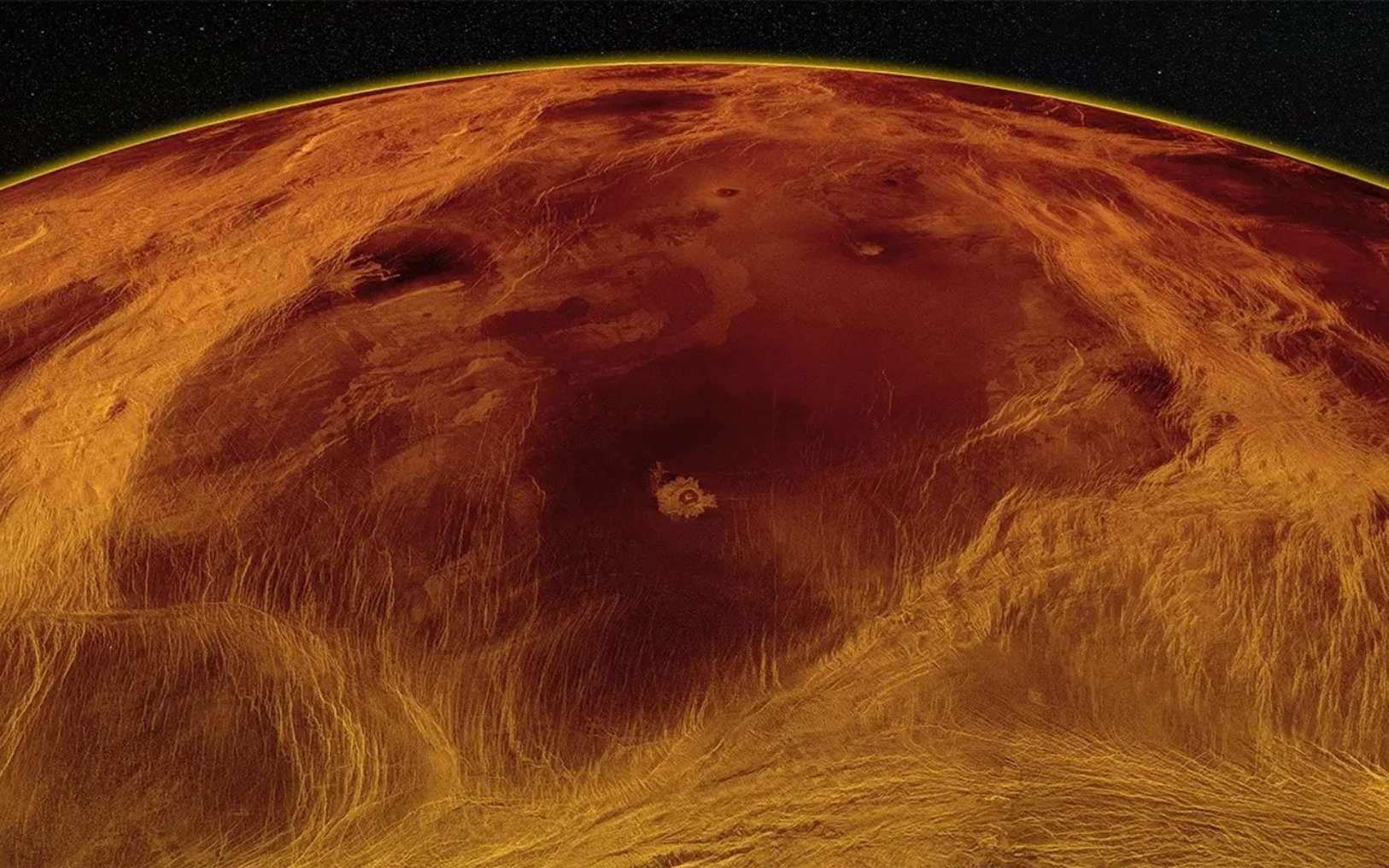 Une vue radar oblique du plus grand bloc des basses terres de Vénus identifié par Byrne et al. Des ceintures complexes de structures tectoniques délimitent le bloc, mais l'intérieur est beaucoup moins déformé, abritant des coulées de lave et une poignée de cratères d'impact. © Paul Byrne, d'après les images originales de la NASA/JPL.